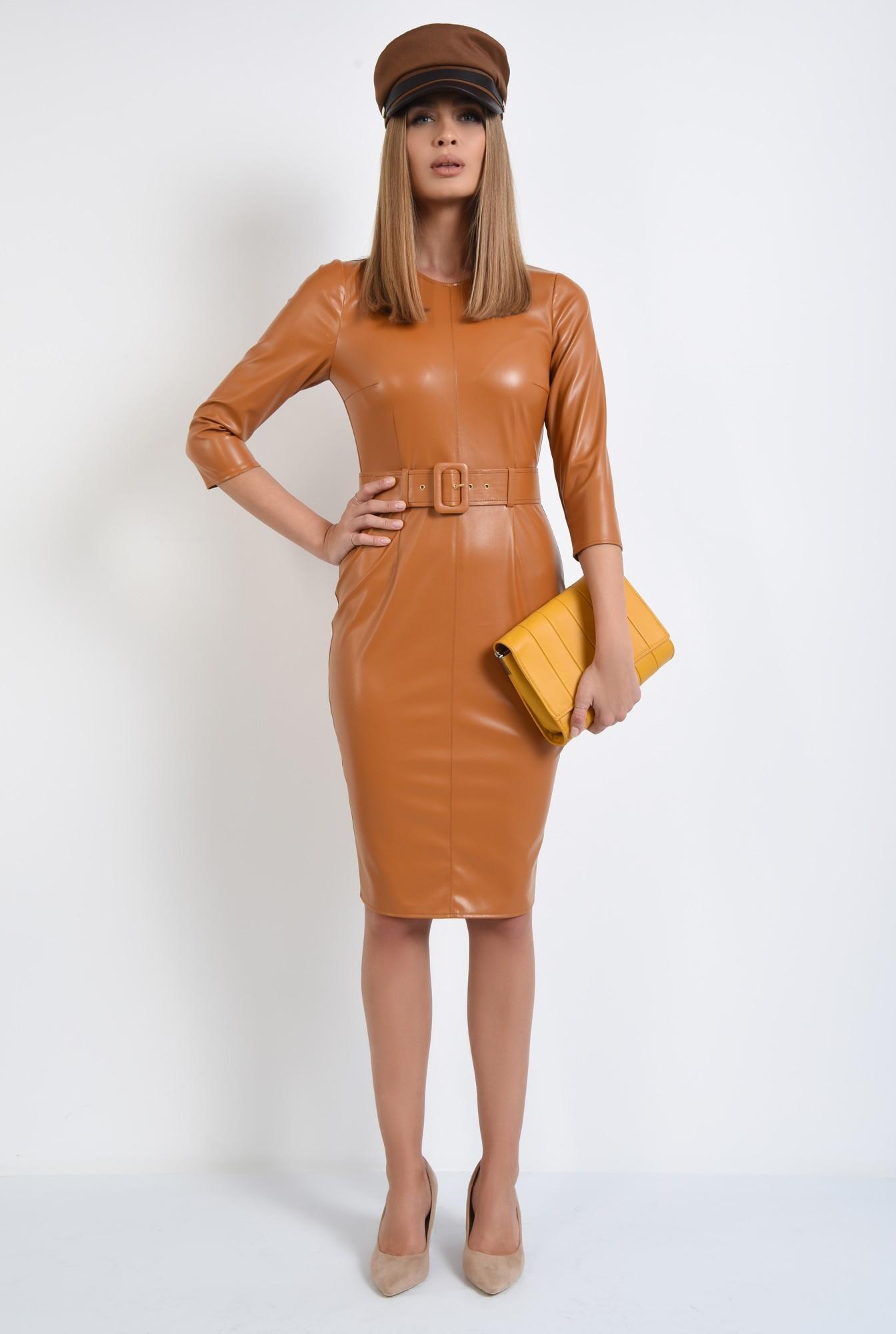3 - rochie casual, conica, cu centura, camel, PU, piele eco