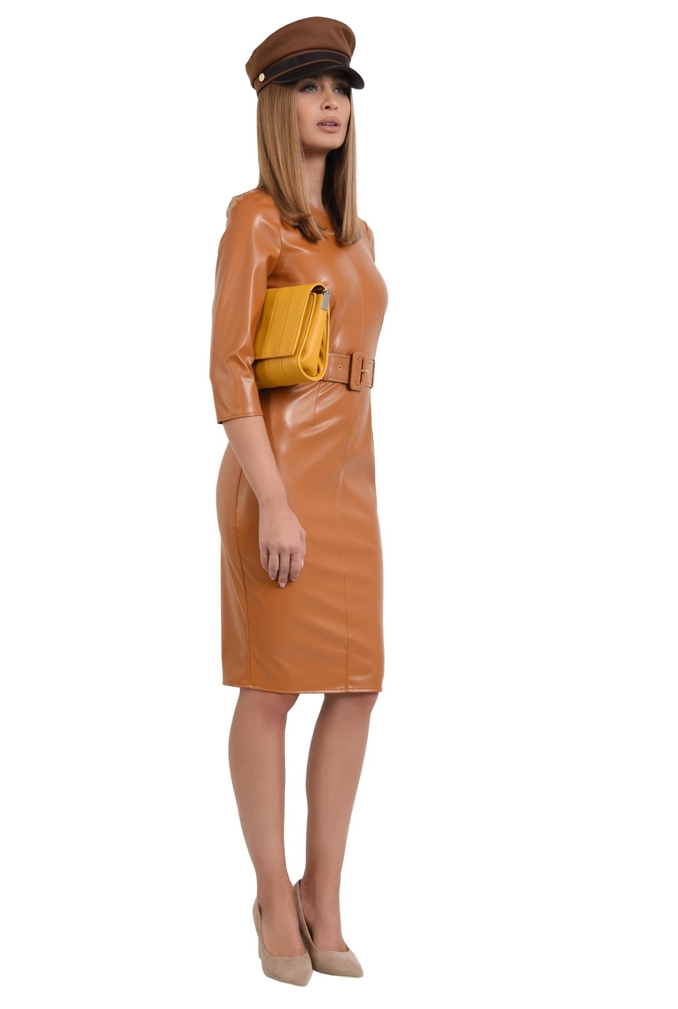 0 - rochie casual, conica, cu centura, camel, PU, piele eco