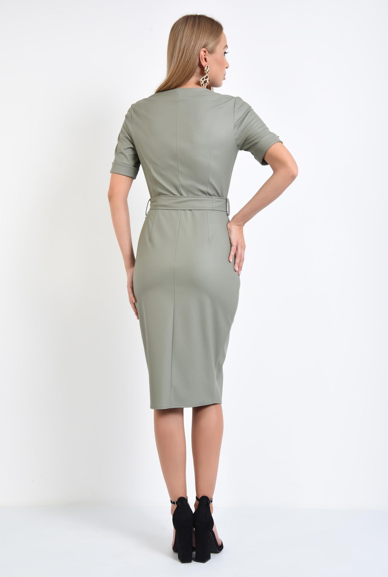 1 - 360 - rochie din piele eco, petrecuta, cordon, maneci scurte