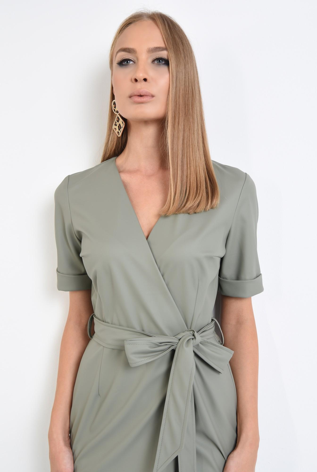 2 - 360 - rochie din piele eco, petrecuta, cordon, maneci scurte
