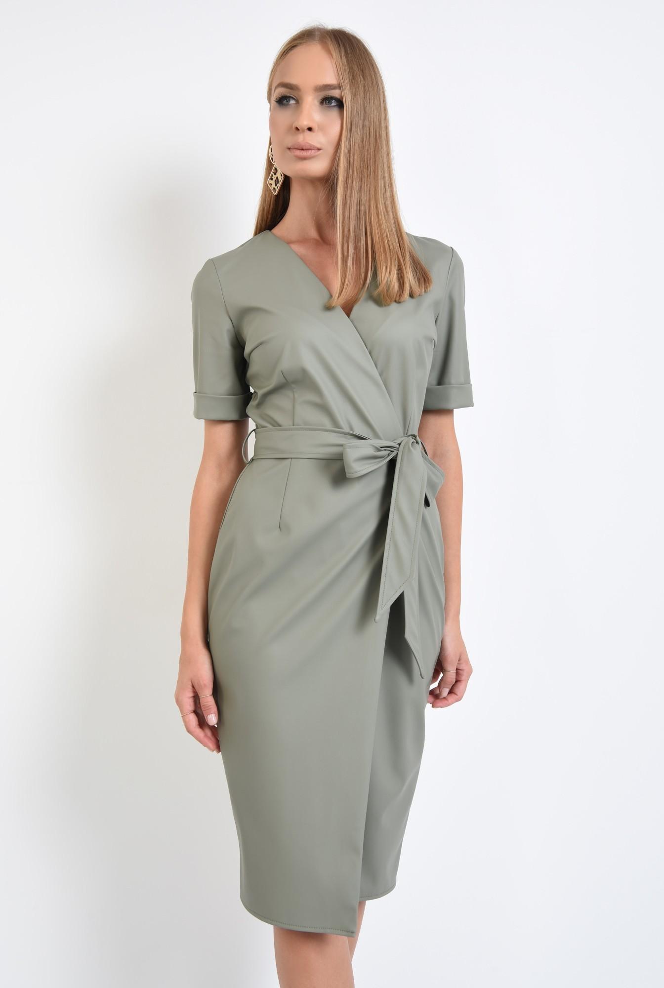 0 - 360 - rochie din piele eco, petrecuta, cordon, maneci scurte
