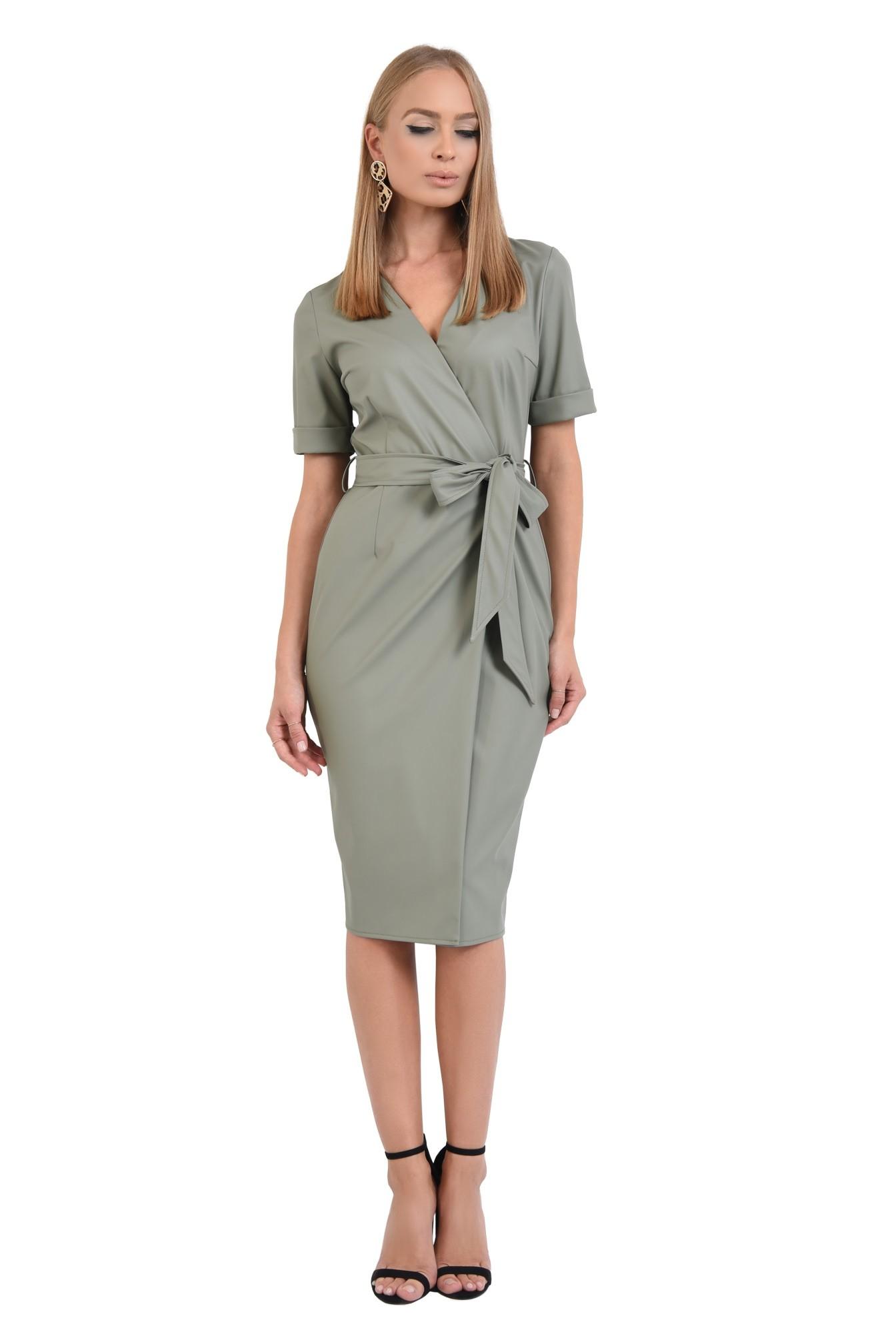 3 - 360 - rochie din piele eco, petrecuta, cordon, maneci scurte