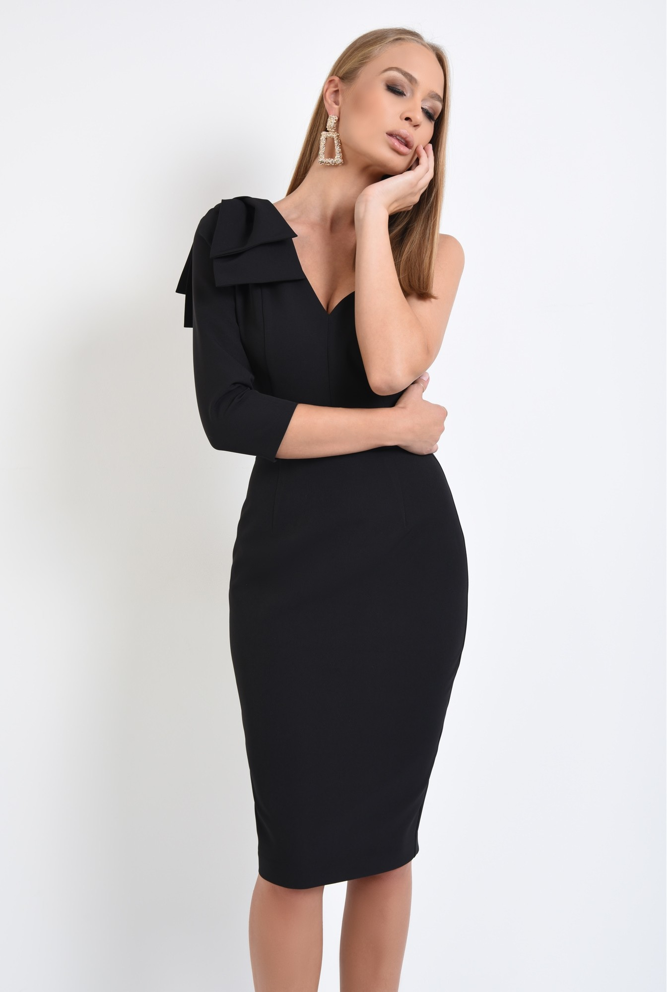 0 - 360 - rochie eleganta, conica, neagra, funda suprapusa la umar