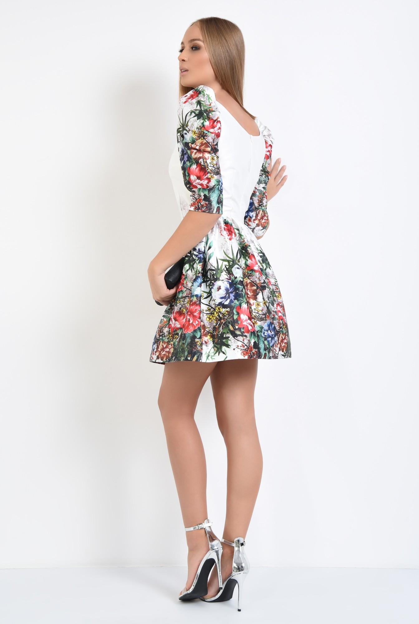 1 - rochie de ocazie, tafta, imprimata, motive florale