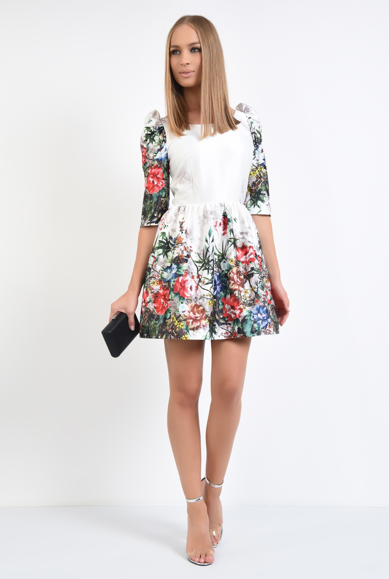 3 - rochie de ocazie, tafta, imprimata, motive florale