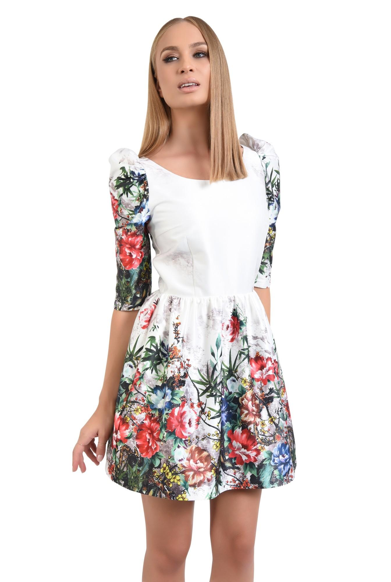 0 - rochie de ocazie, tafta, imprimata, motive florale