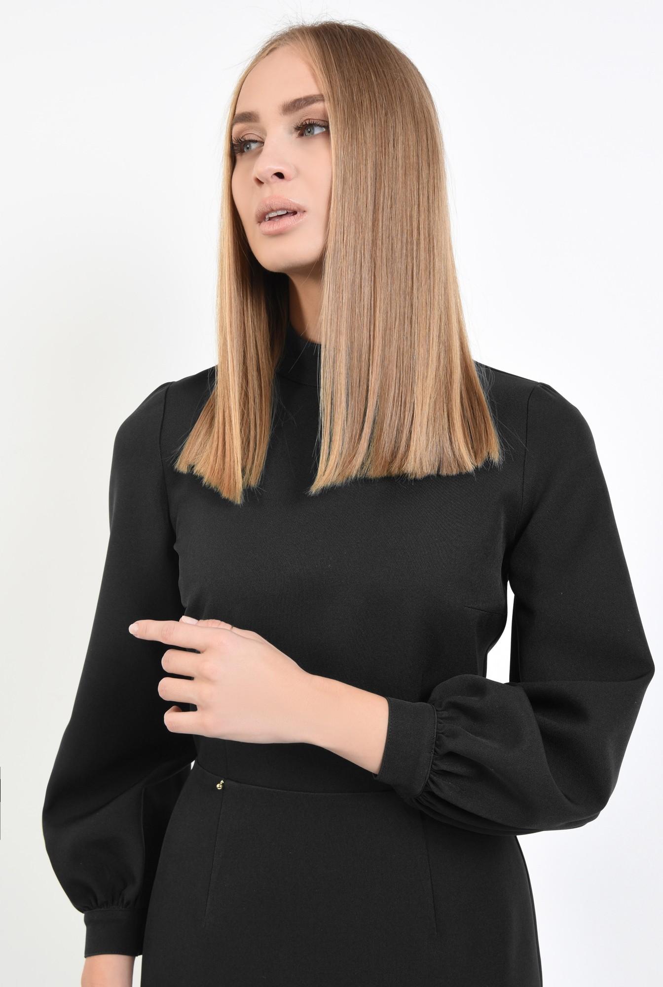 2 - rochie neagra, de zi, office, maneci bufante, cu guler