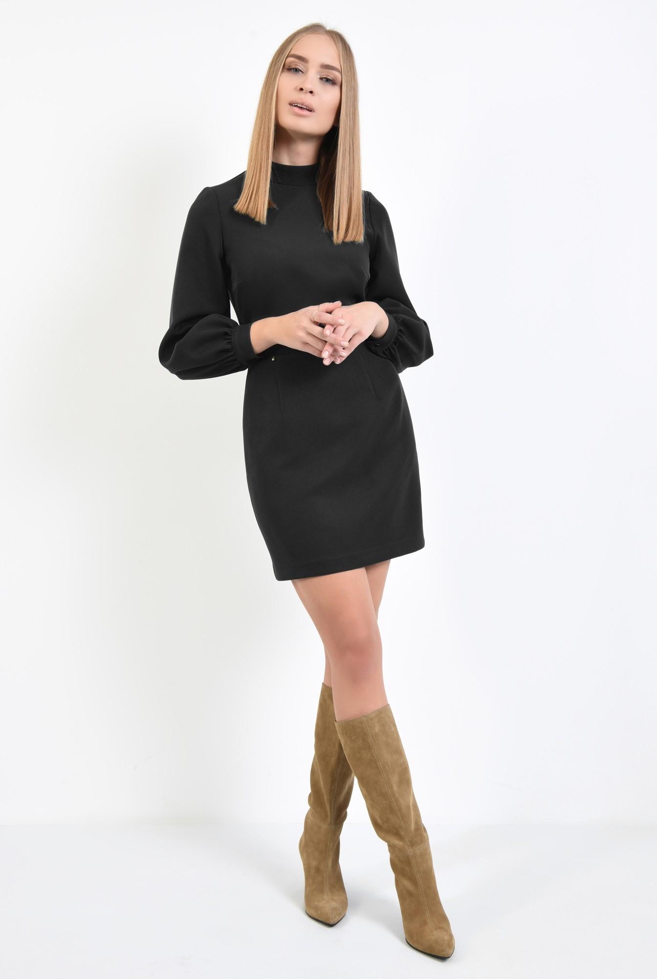 3 - rochie neagra, de zi, office, maneci bufante, cu guler