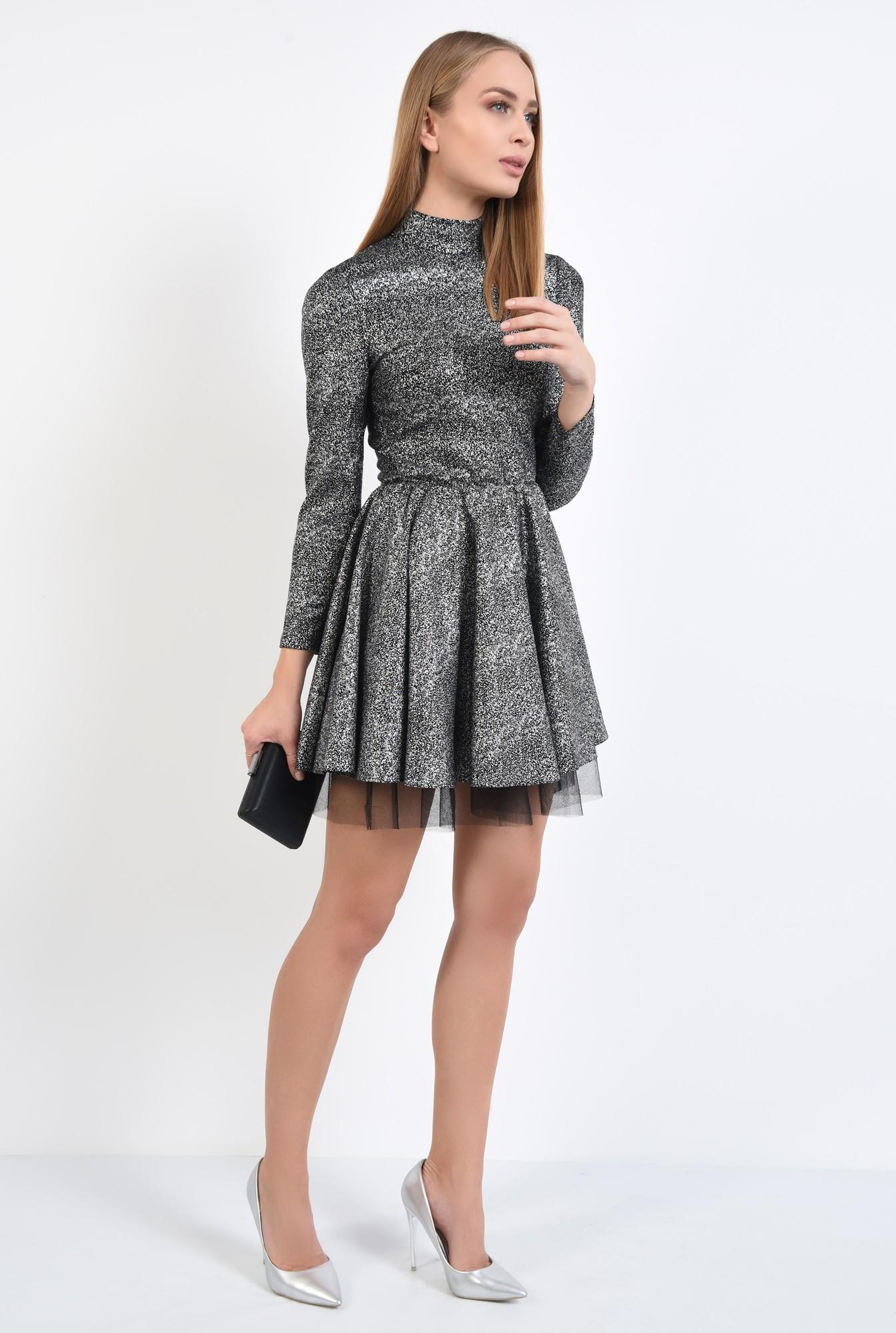 3 - rochie de ocazie, picouri argintii metalizat, croi clos cu pliseuri late