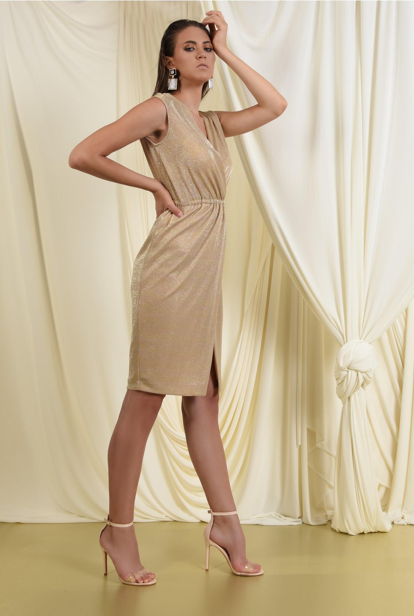 3 - 360 - rochie eleganta, aurie, conica, petrecuta