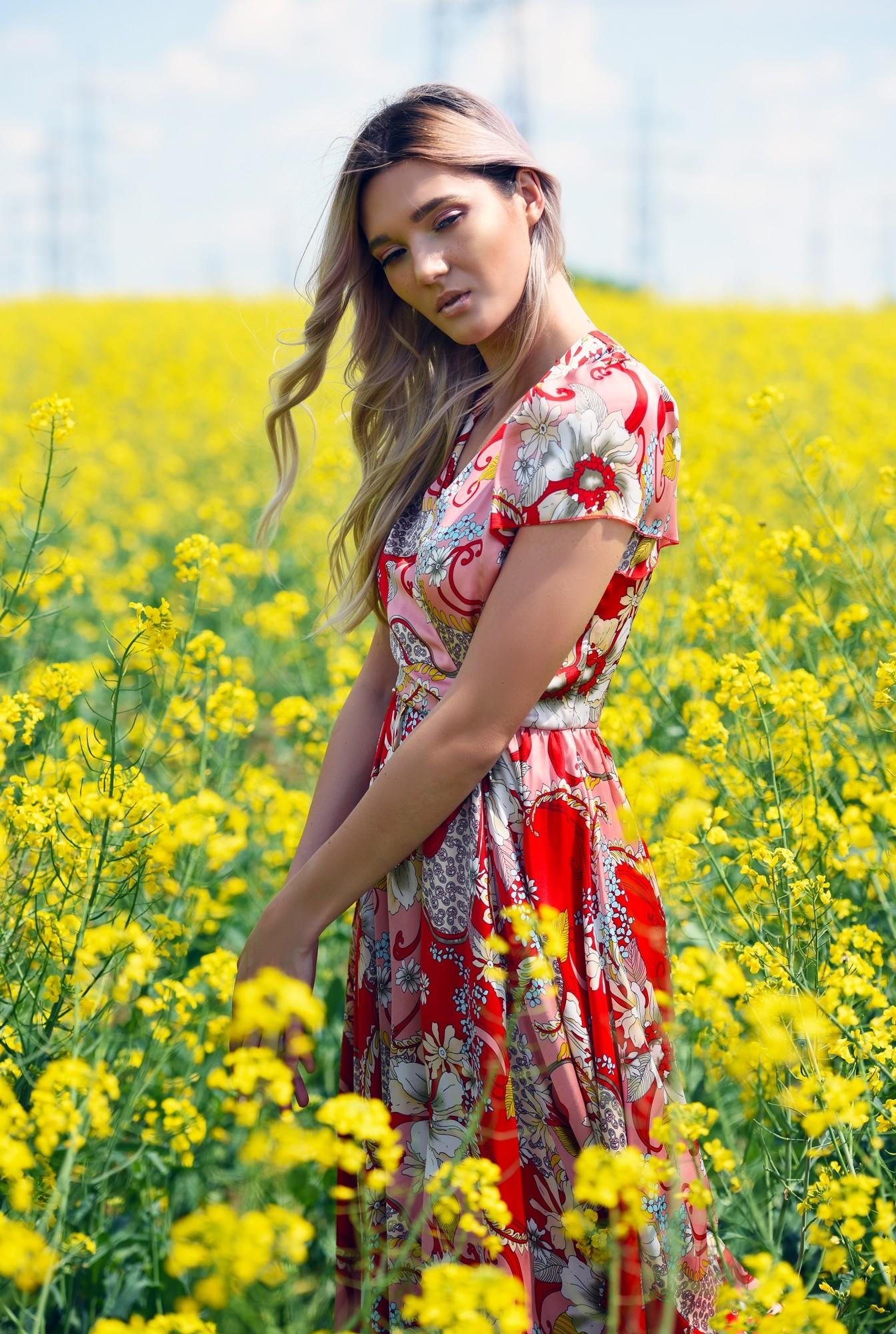 2 - rochie de seara, Poema, cu imprimeu floral, cu maneci fluture, clos