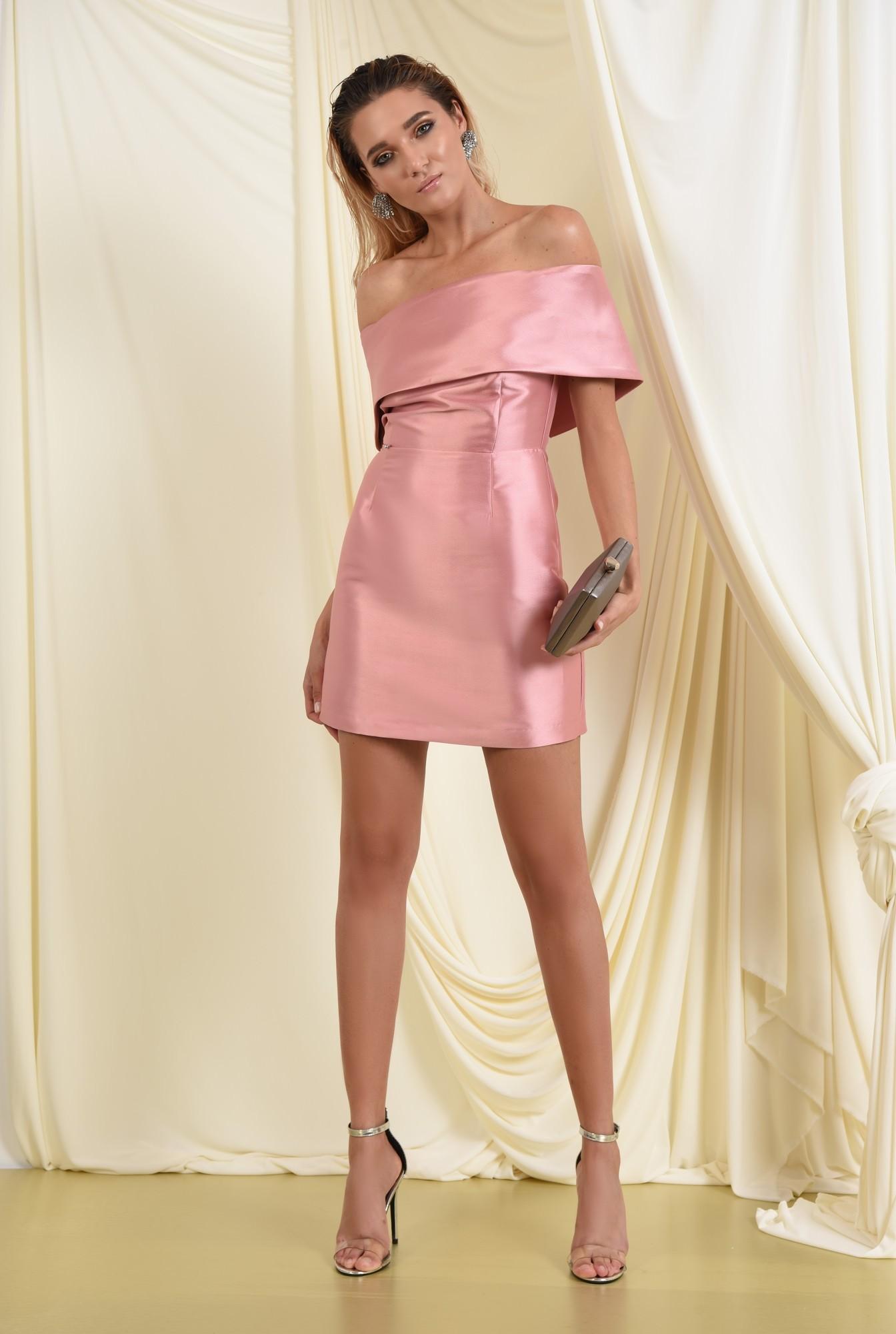 3 - 360 - rochie eleganta, mini, cu capa, umeri goi, croi cambrat, Poema