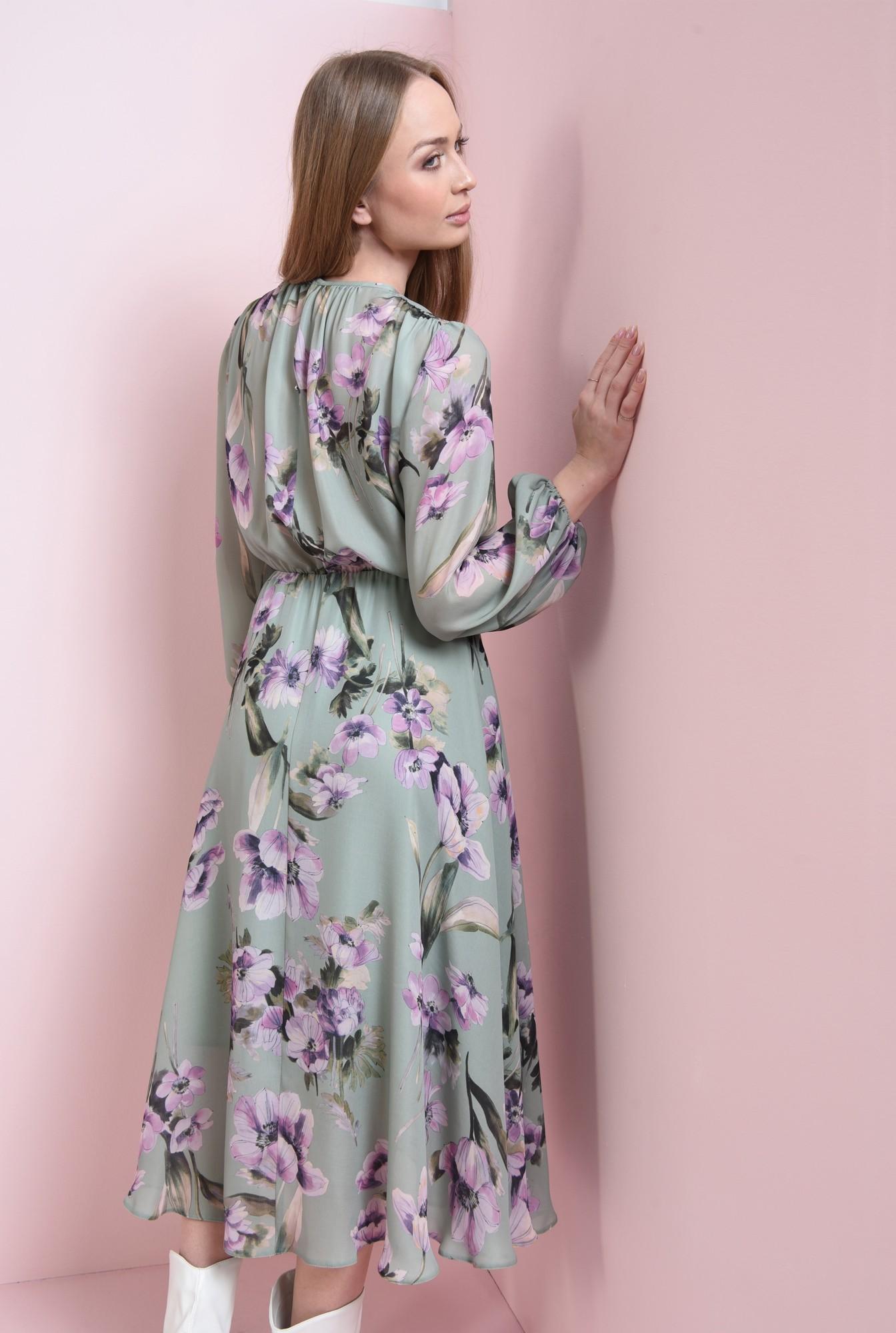 1 - rochie verde, midi, cu print