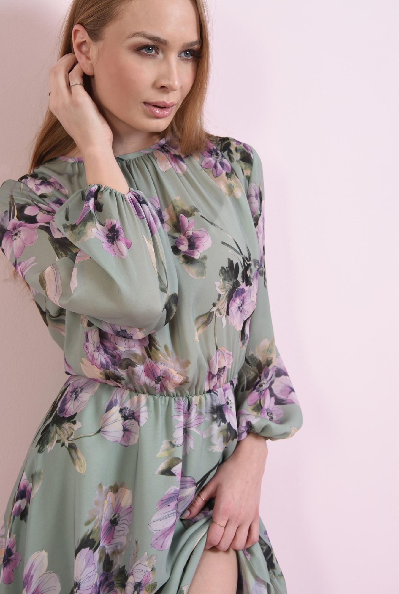 2 - rochie verde, midi, cu print