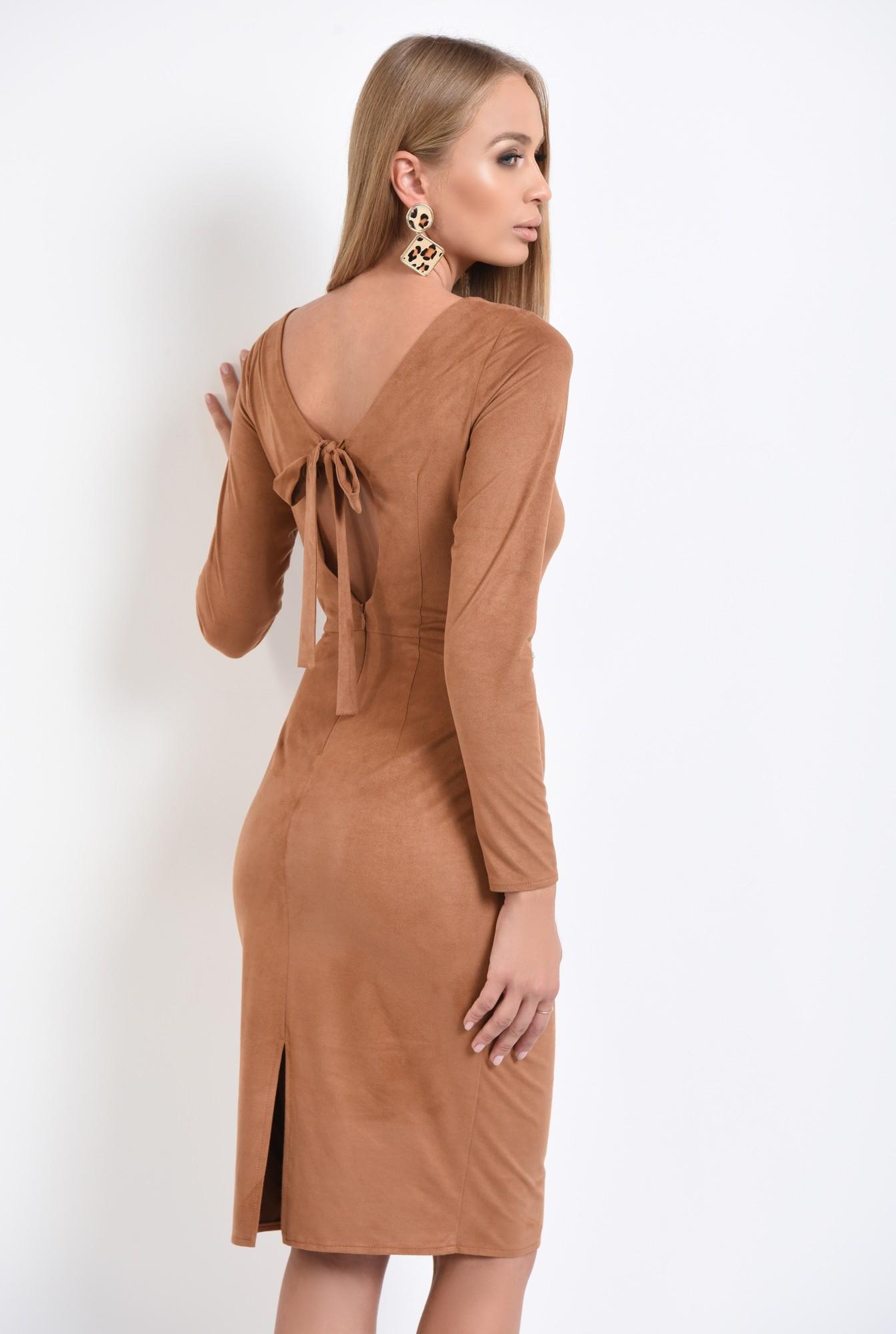 1 - 360 - rochie eleganta, piele intoarsa eco, maro