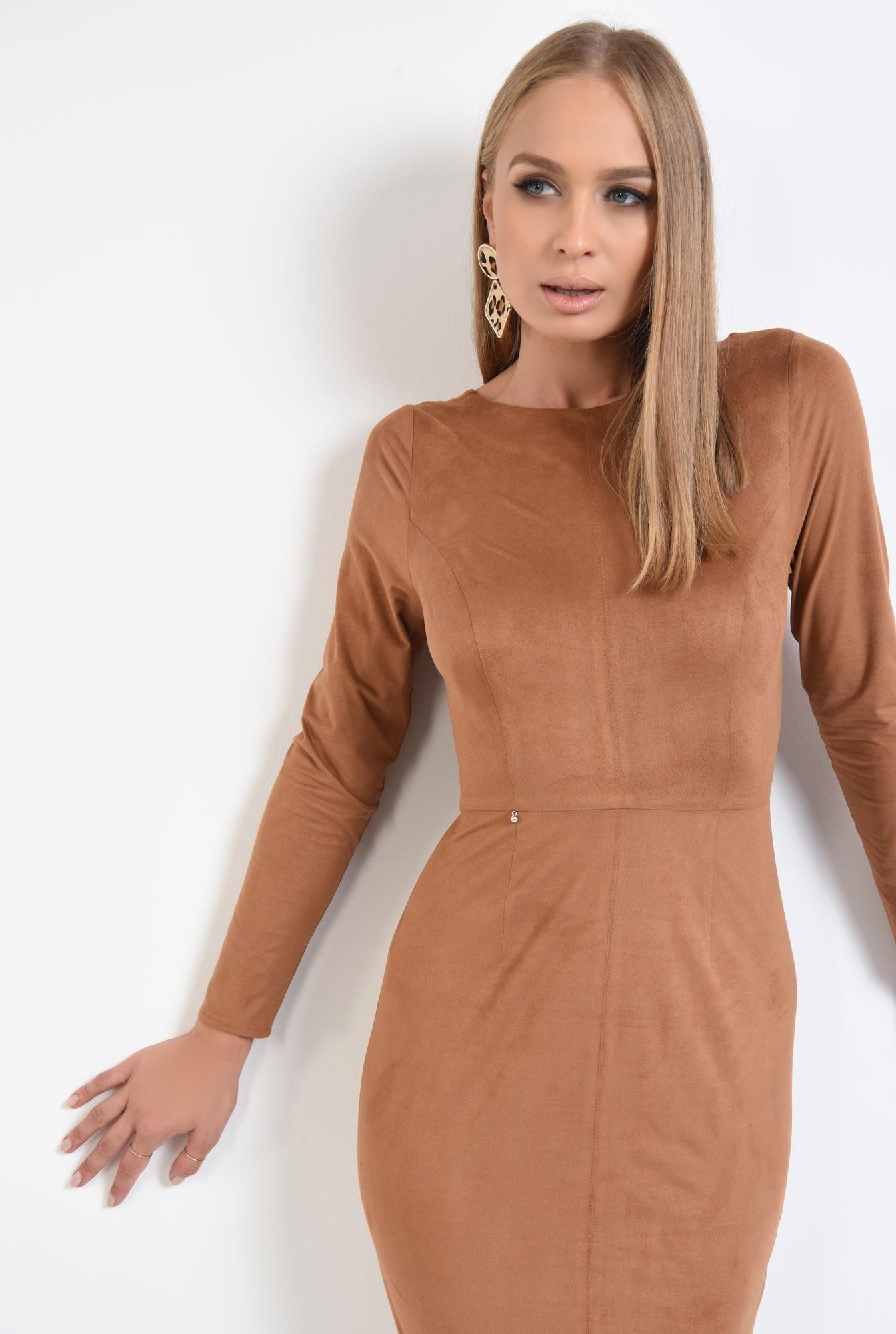 2 - 360 - rochie eleganta, piele intoarsa eco, maro