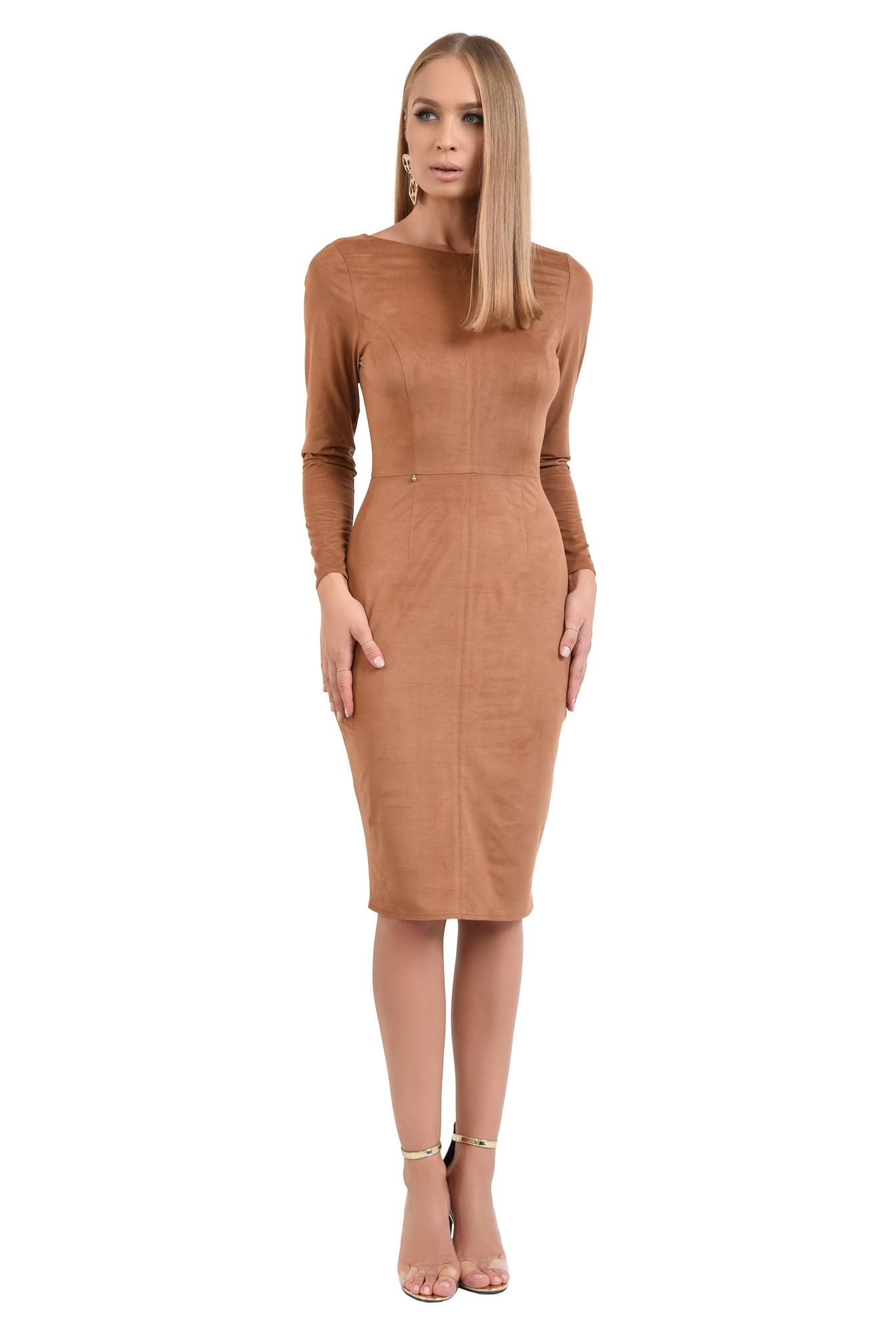3 - 360 - rochie eleganta, piele intoarsa eco, maro