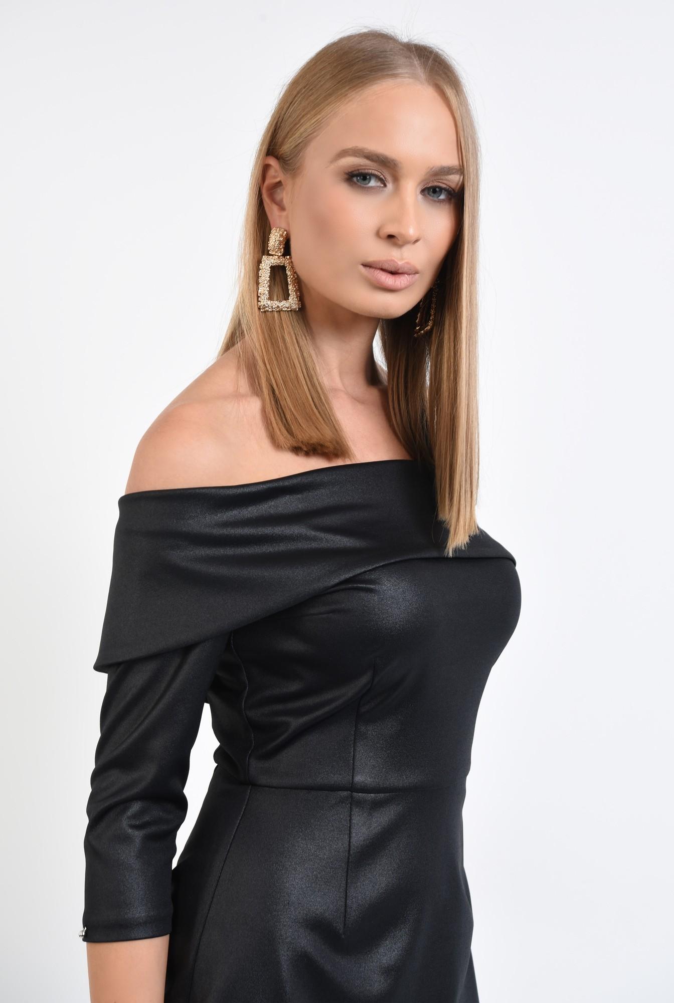 2 - rochie de seara, neagra, umeri goi, cambrata, scurta