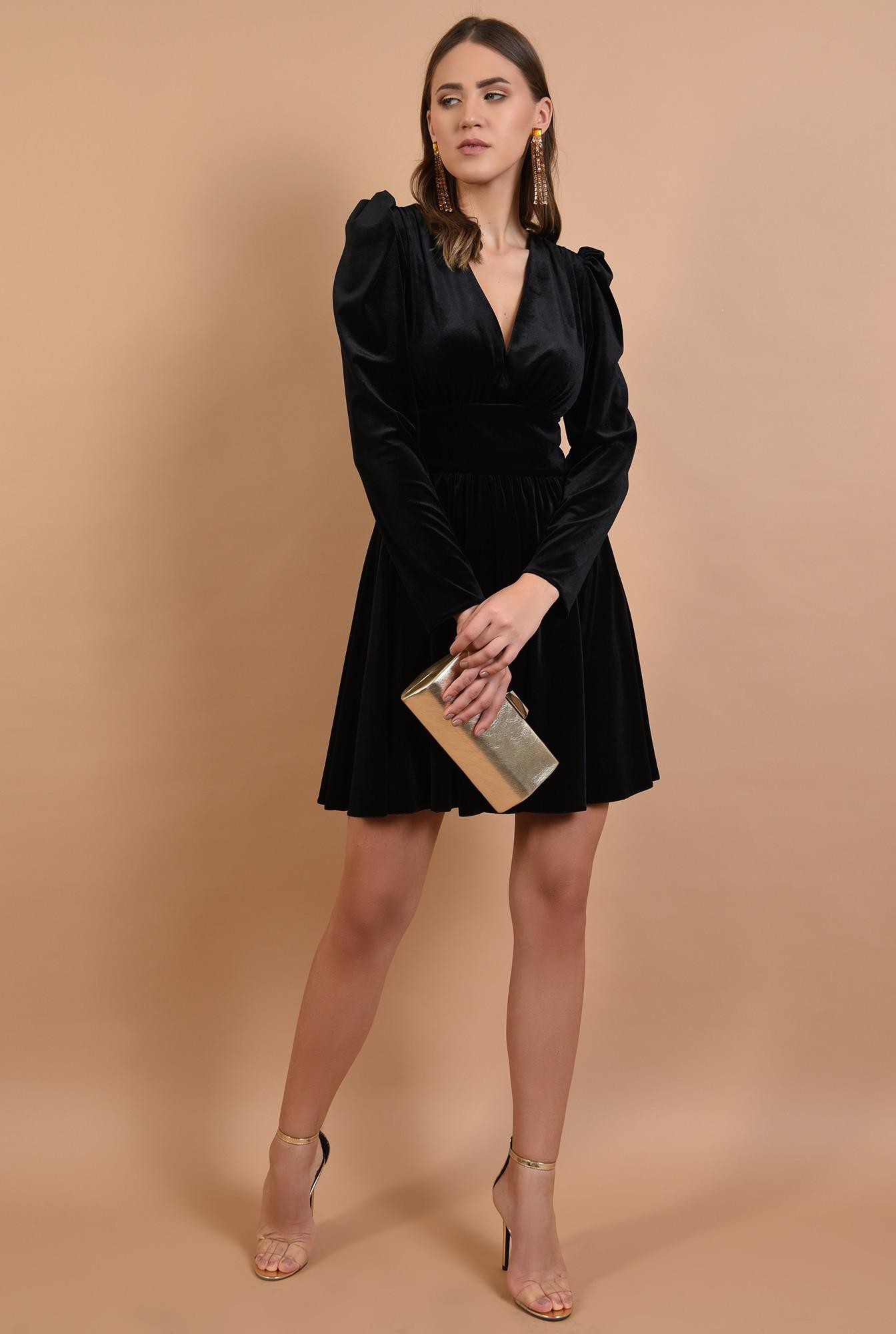 3 - rochie eleganta, din catifea, neagra, scurta