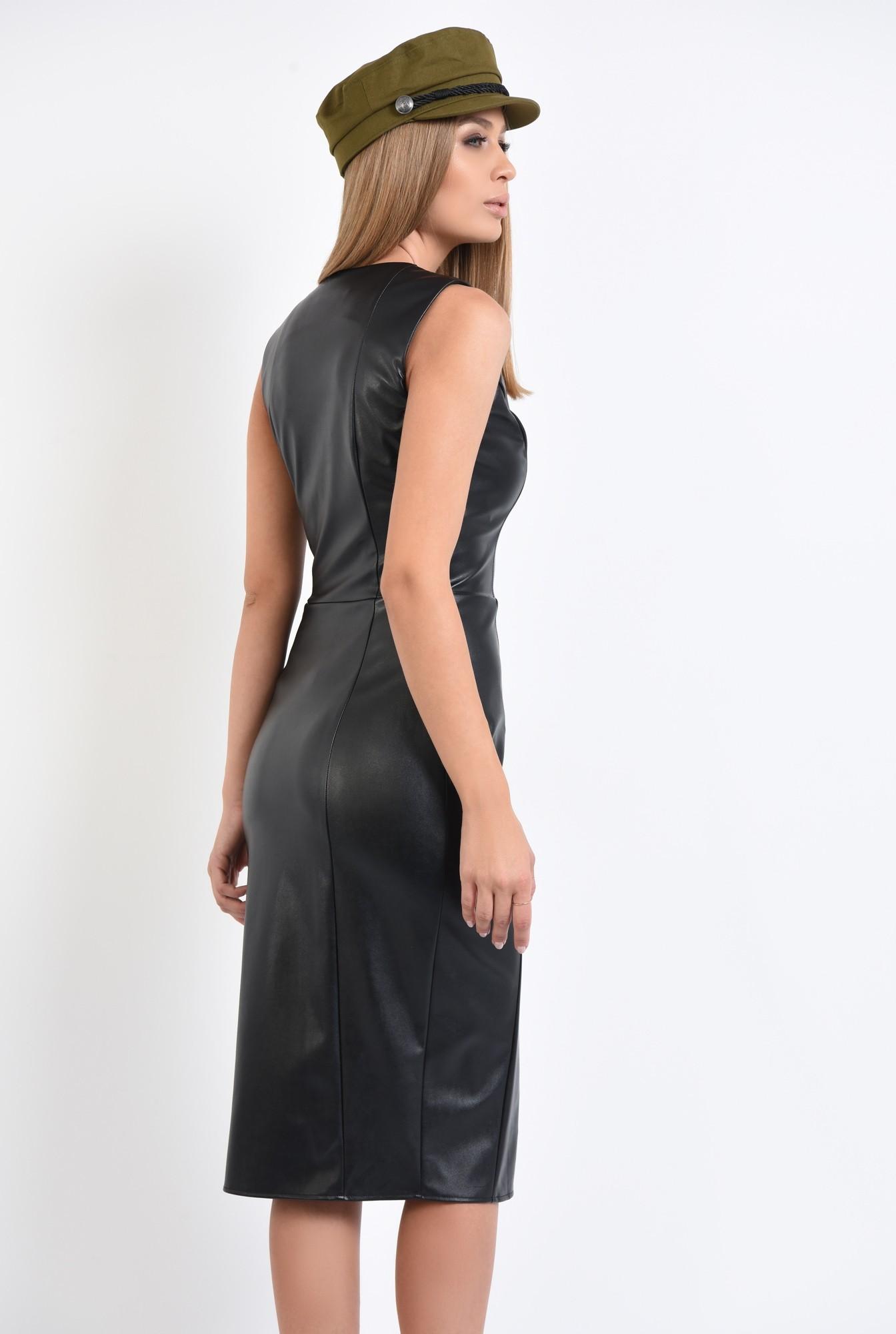 1 - rochie de zi, neagra, cu fermoar, slit la fata