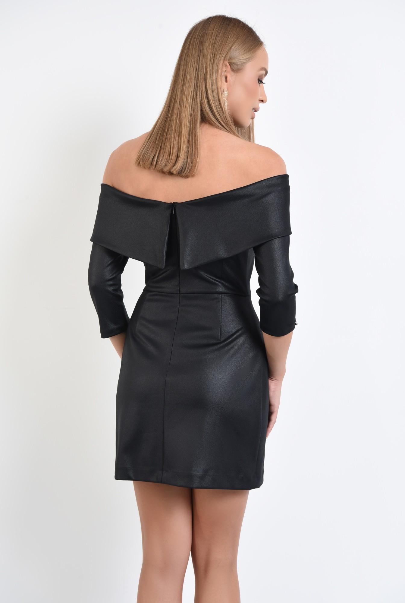 1 - rochie de seara, neagra, umeri goi, cambrata, scurta