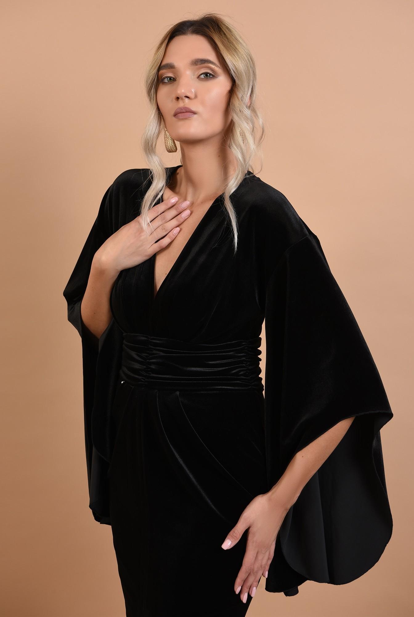 2 - 360 - rochie neagra, midi, conica, maneci fantezie, Poema