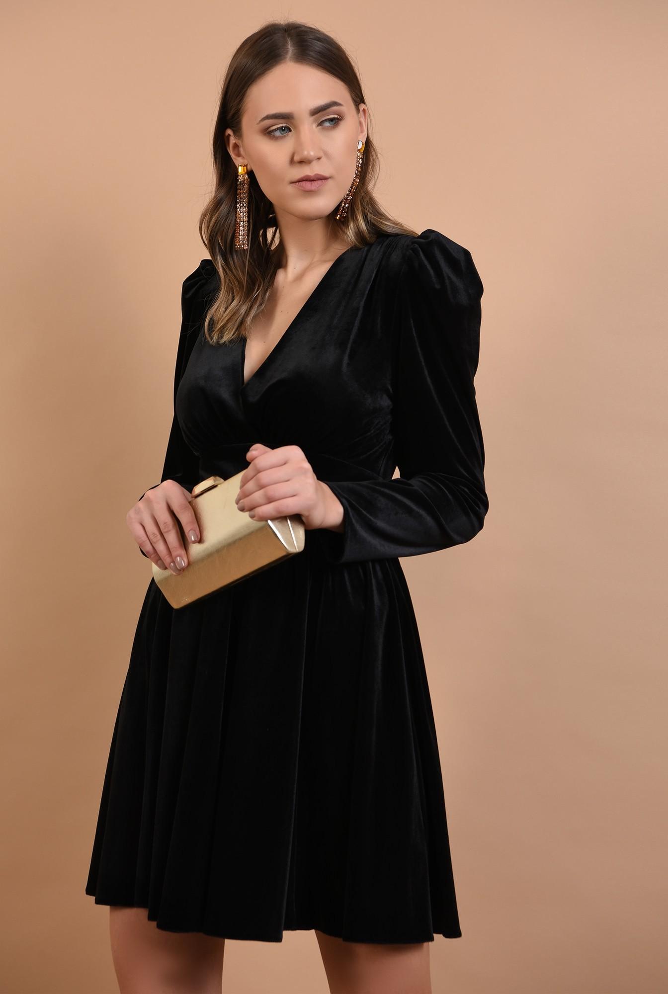 2 - rochie eleganta, din catifea, neagra, scurta
