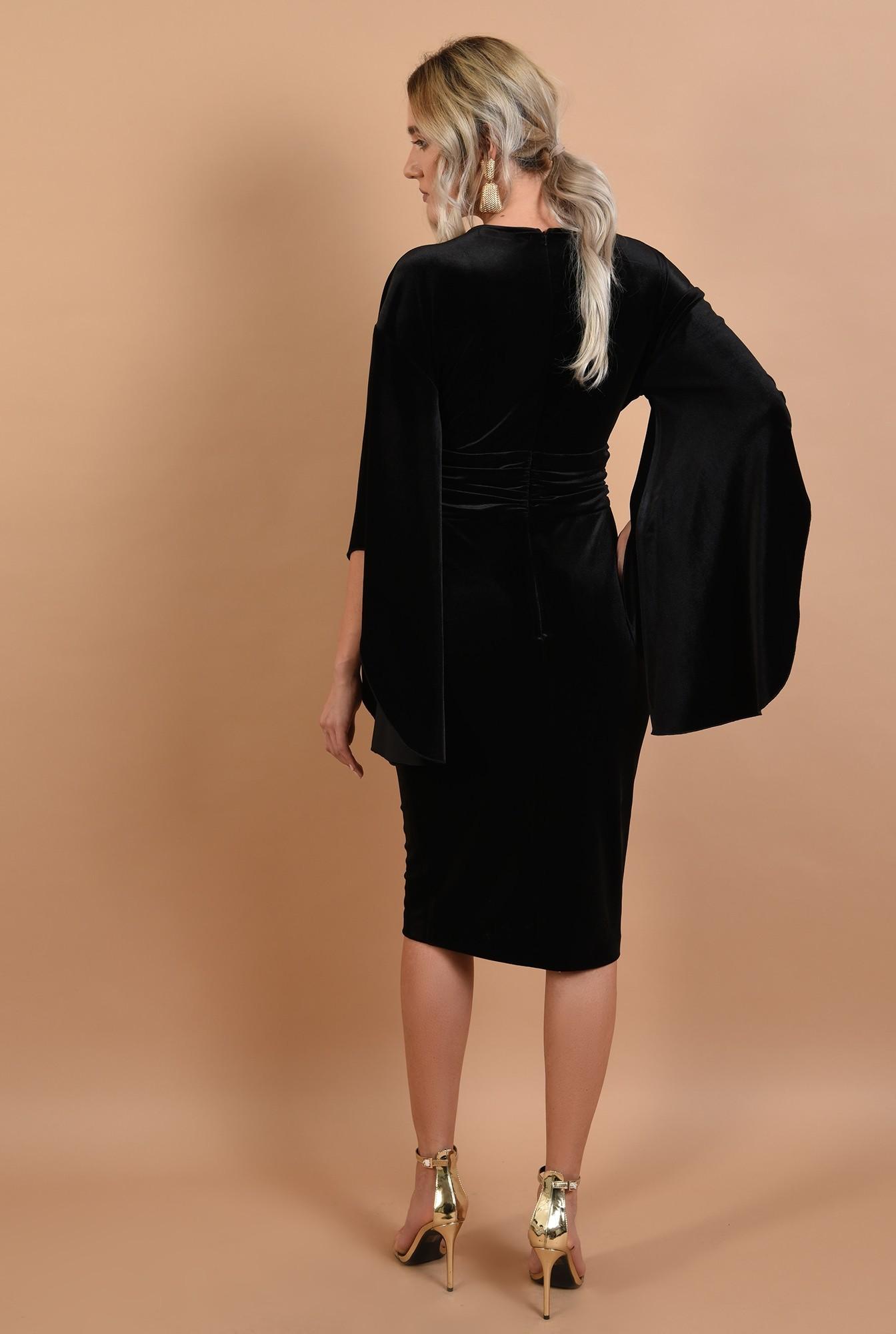 1 - 360 - rochie neagra, midi, conica, maneci fantezie, Poema