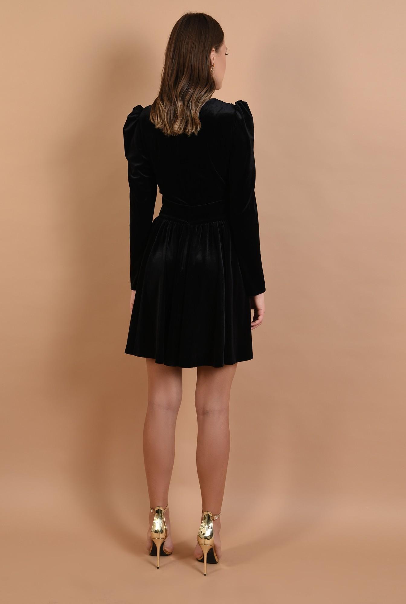 1 - rochie eleganta, din catifea, neagra, scurta