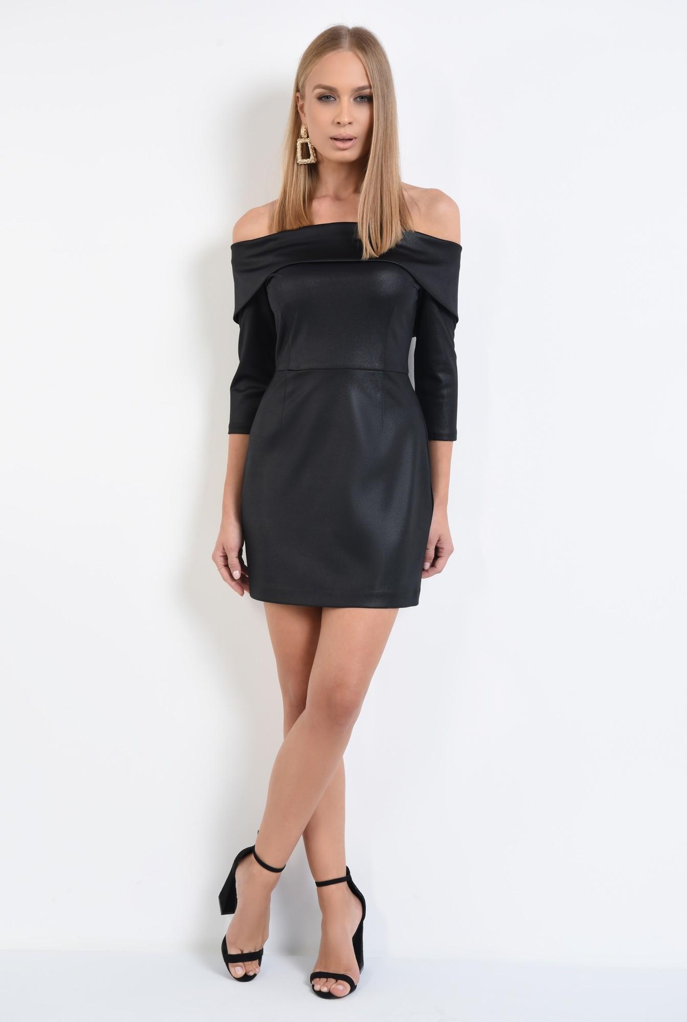 3 - rochie de seara, neagra, umeri goi, cambrata, scurta