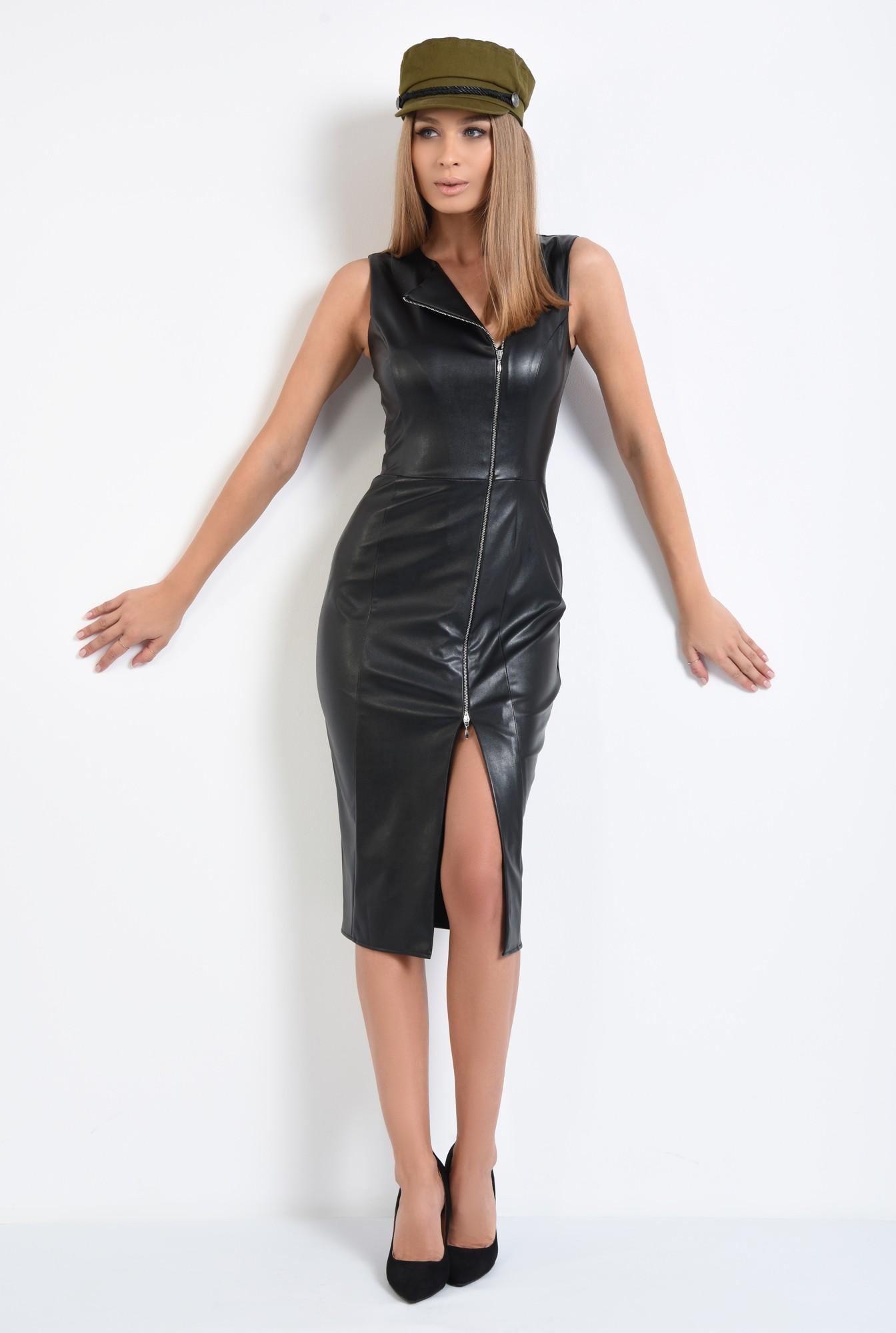 3 - rochie de zi, neagra, cu fermoar, slit la fata