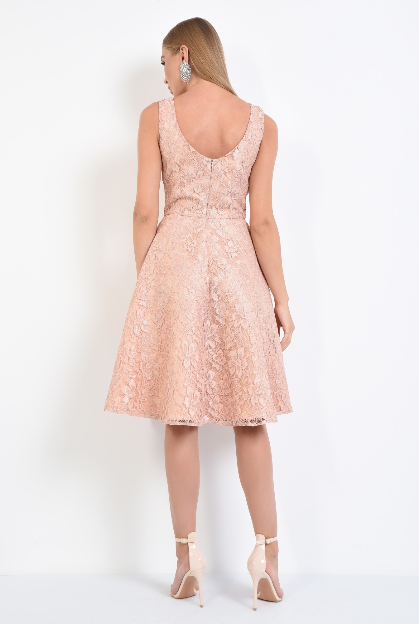 1 - rochie eleganta, peach, spate decoltat, decolteu barcuta