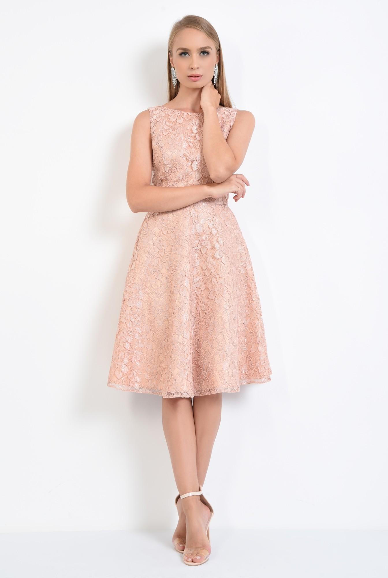3 - rochie eleganta, peach, spate decoltat, decolteu barcuta