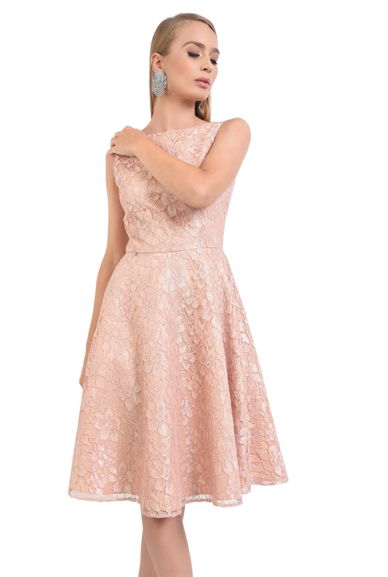 0 - rochie eleganta, peach, spate decoltat, decolteu barcuta