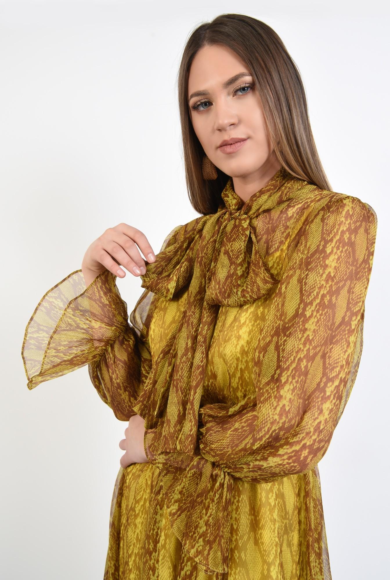 2 - 360 - rochie midi, clos, cu imprimeu, guler esarfa, funda