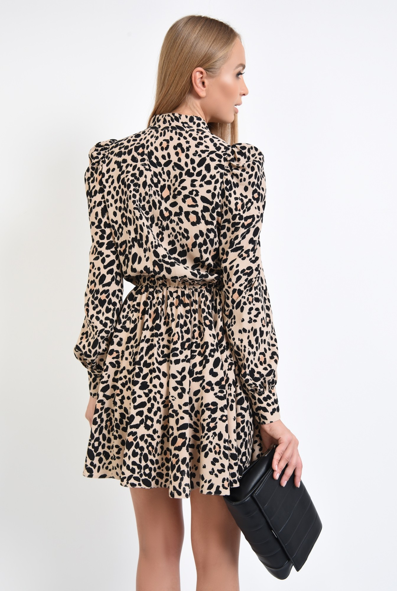 1 - 360 - rochie casual, scurta, clos, animal print, funda