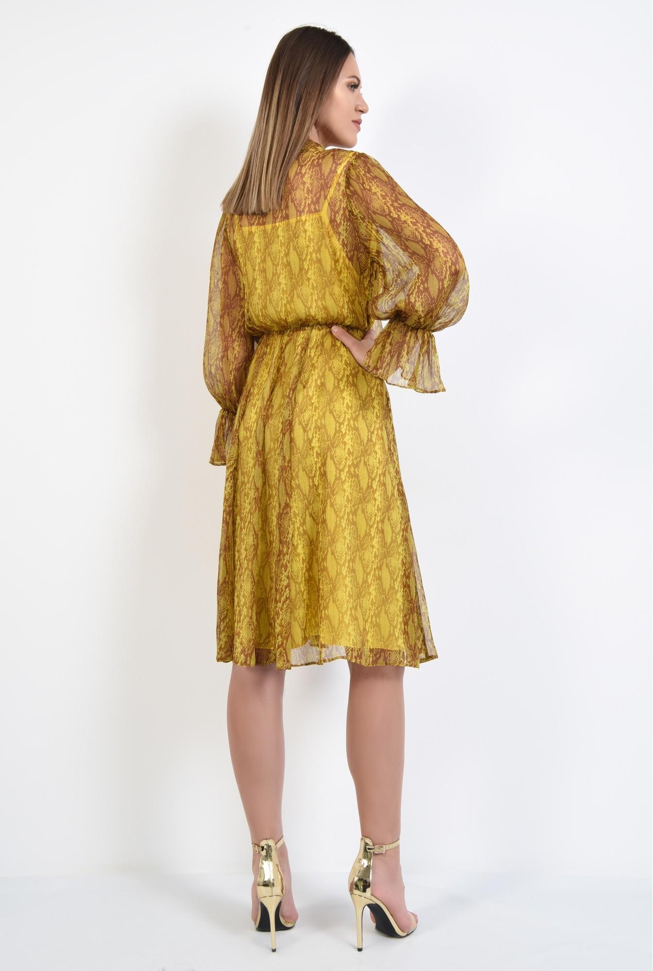 1 - 360 - rochie midi, clos, cu imprimeu, guler esarfa, funda