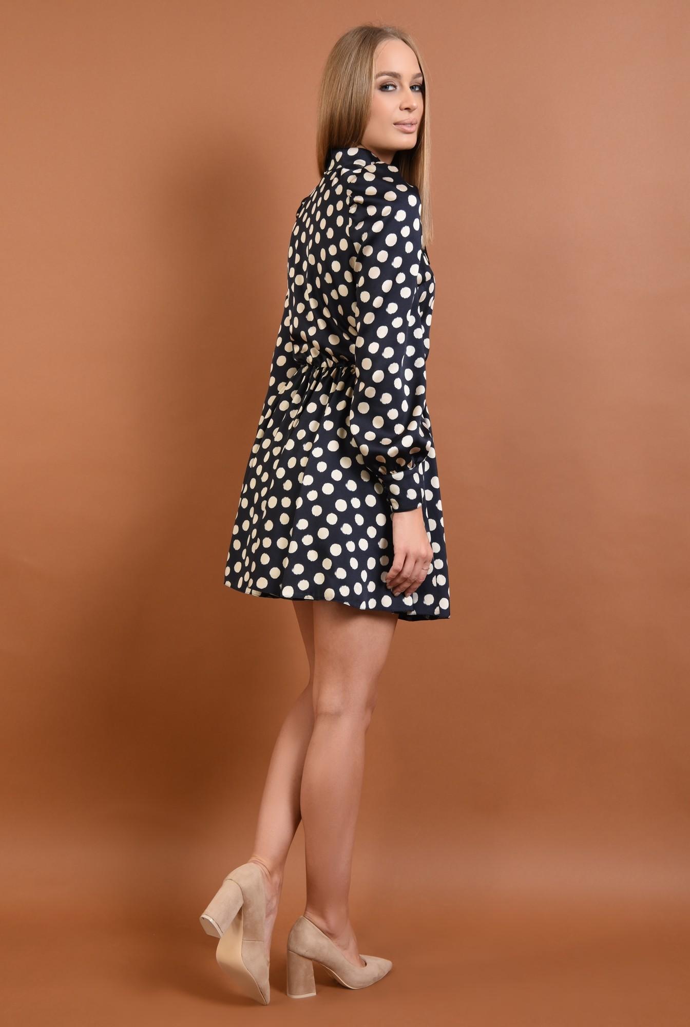 1 - 360 - rochie casual, scurta, clos, maneci bufante, funda, nod, buline