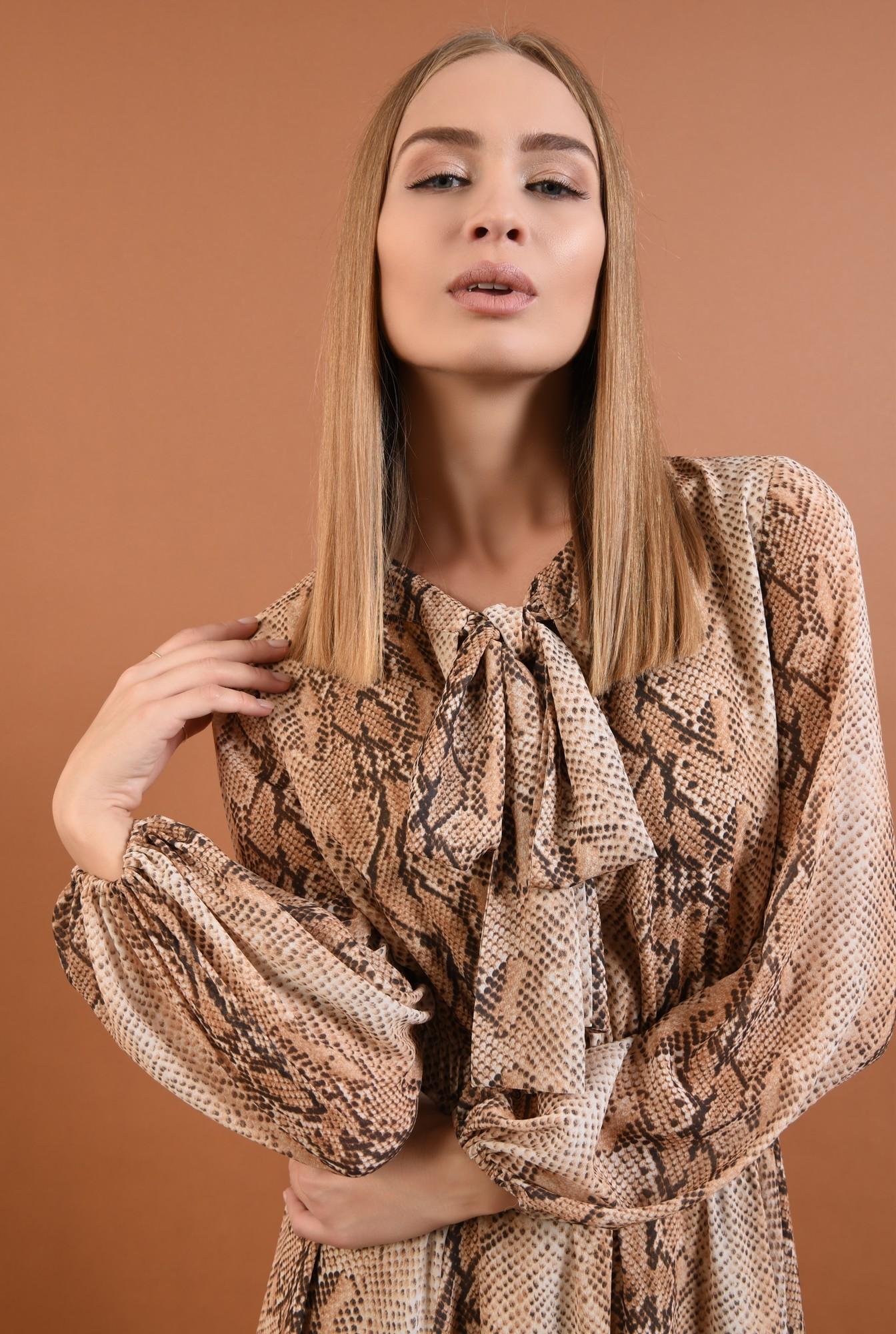 2 - 360 - rochie eleganta, de zi, din voal, imprimata, sarpe, maneci lungi, esarfa