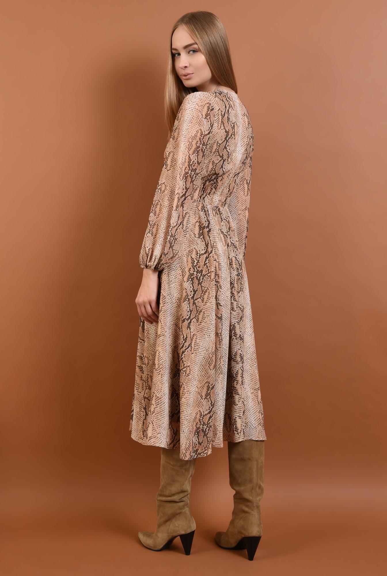 1 - 360 - rochie eleganta, de zi, din voal, imprimata, sarpe, maneci lungi, esarfa