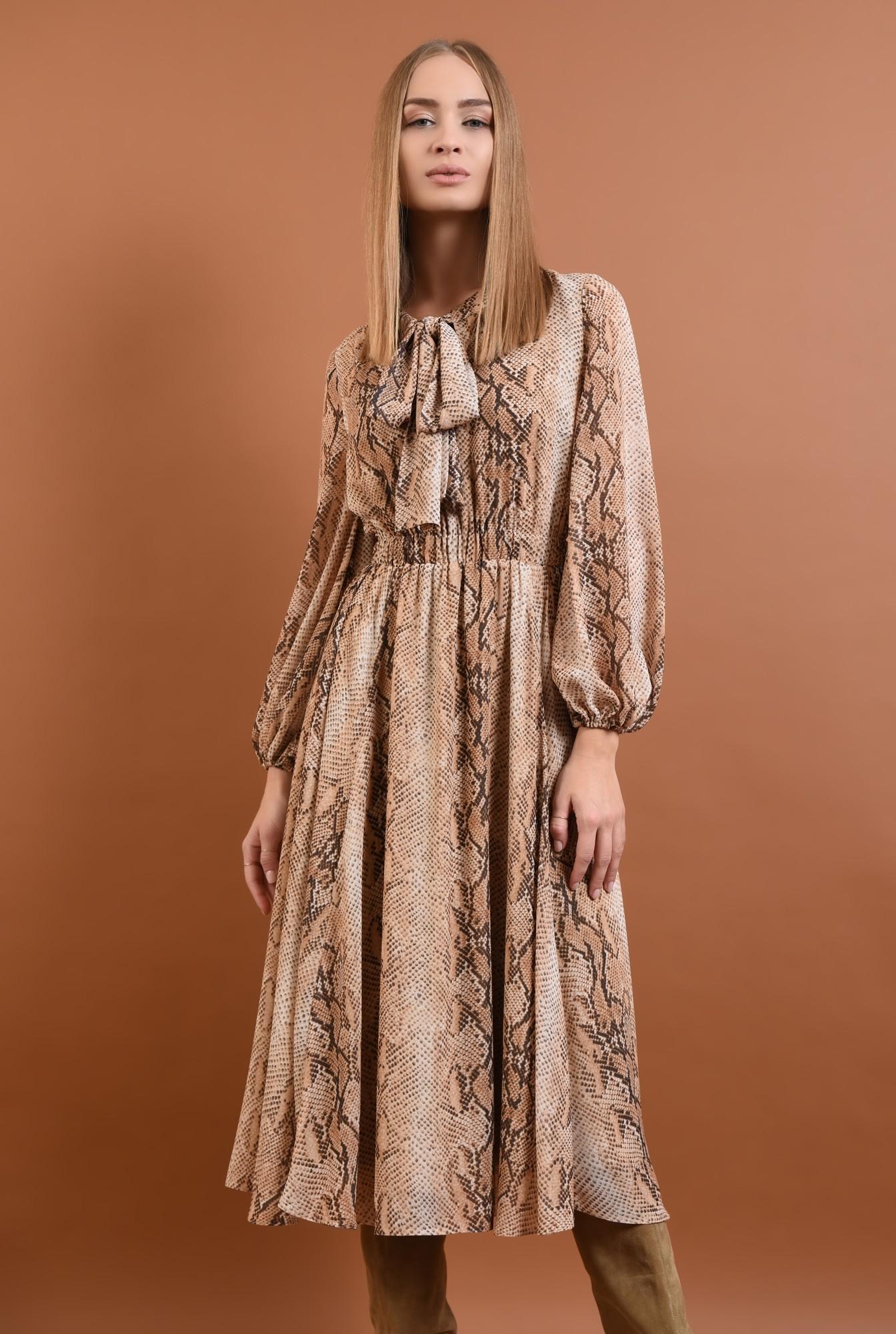 3 - 360 - rochie eleganta, de zi, din voal, imprimata, sarpe, maneci lungi, esarfa