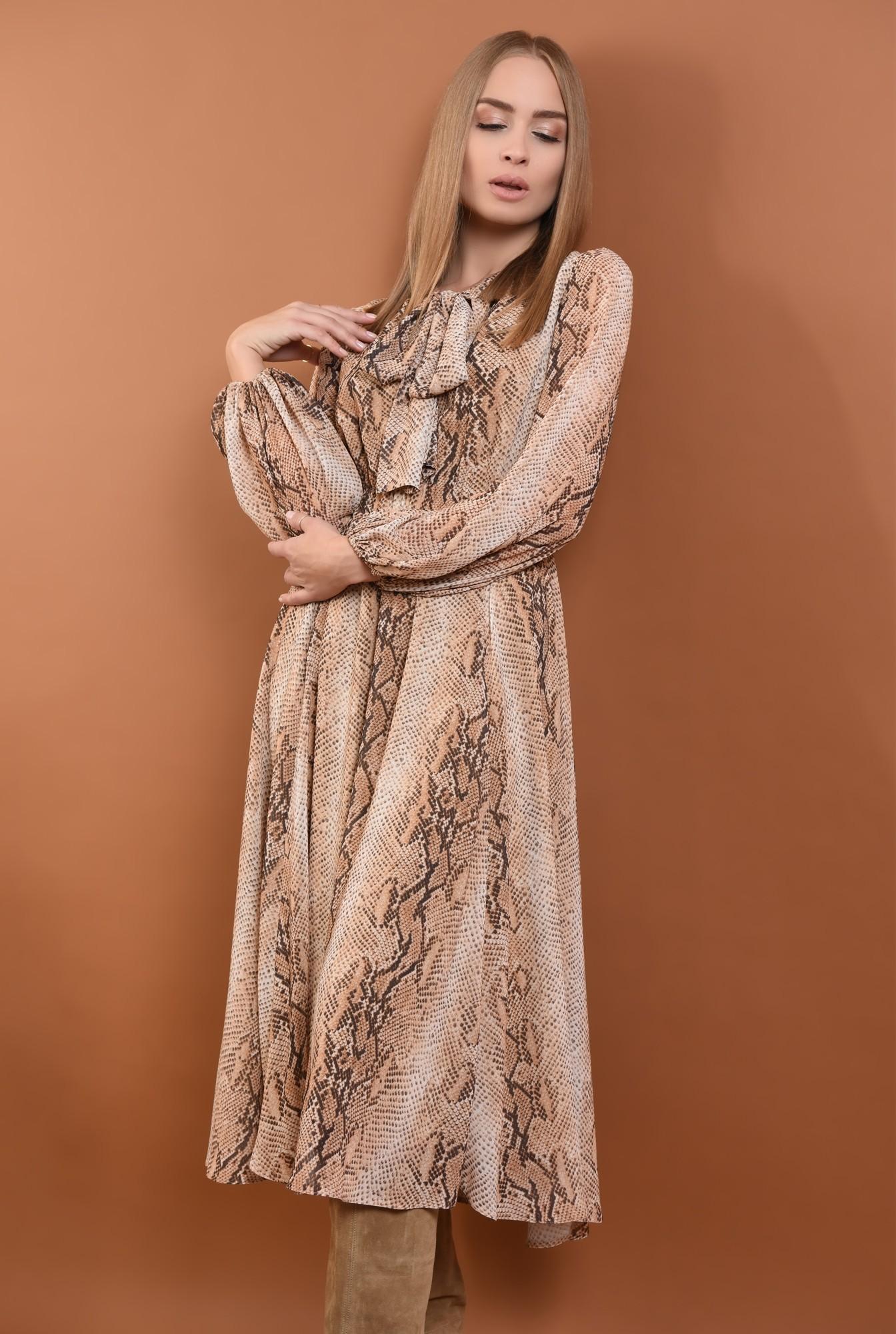 0 - 360 - rochie eleganta, de zi, din voal, imprimata, sarpe, maneci lungi, esarfa