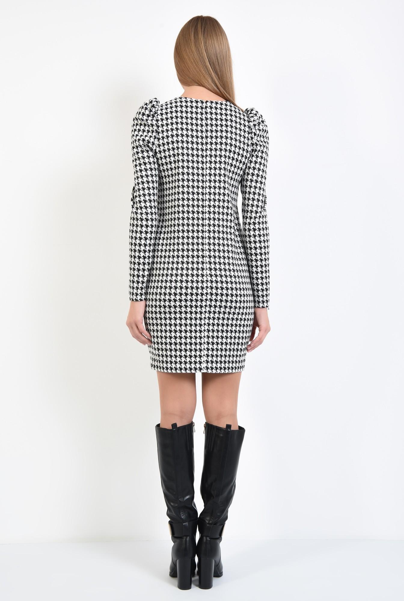 1 - 360 - rochie office, scurta, croi drept, maneci lungi, pepit, alb-negru