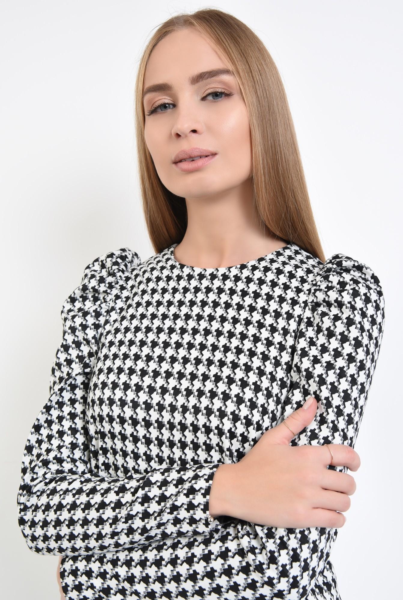 2 - 360 - rochie office, scurta, croi drept, maneci lungi, pepit, alb-negru