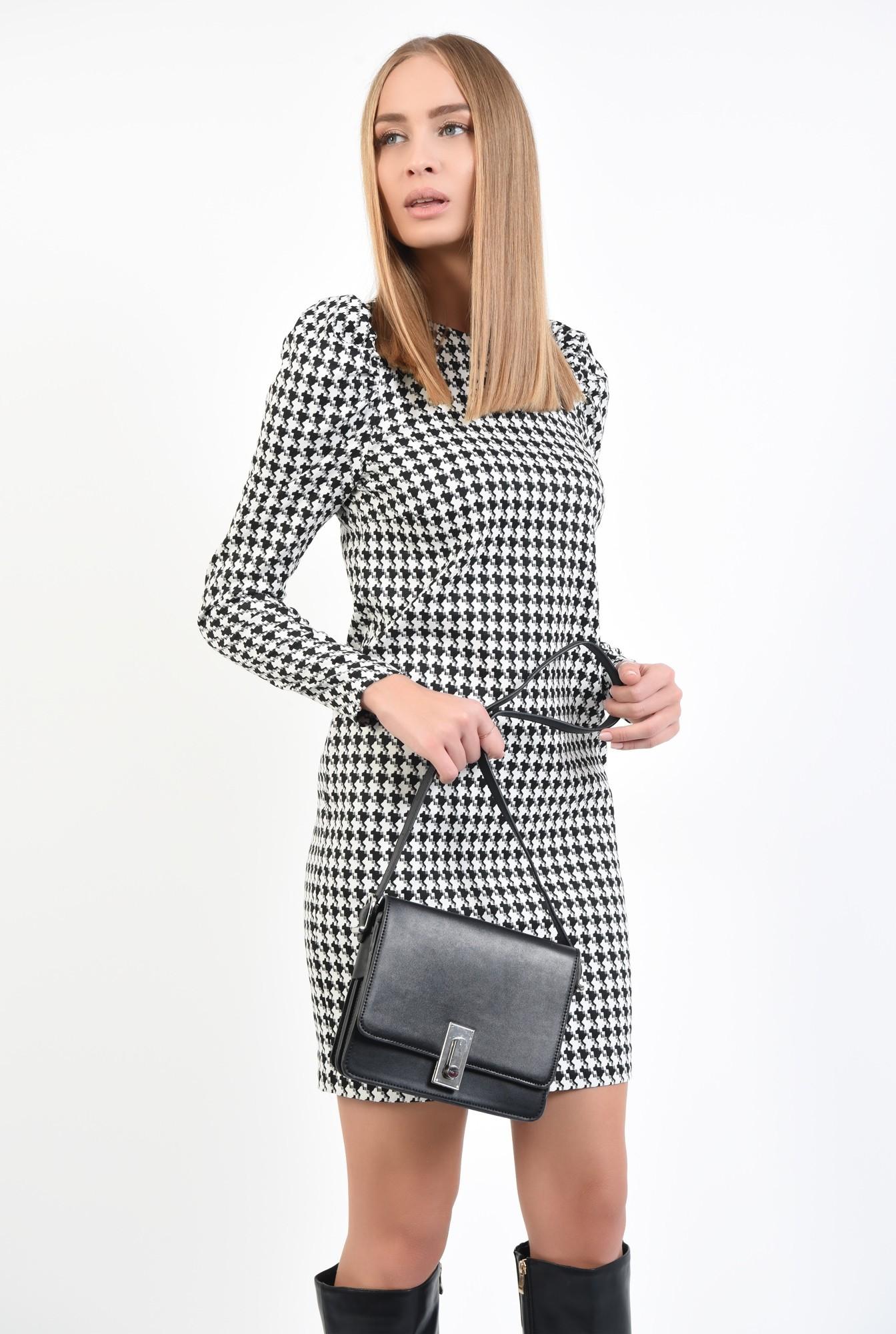 0 - 360 - rochie office, scurta, croi drept, maneci lungi, pepit, alb-negru