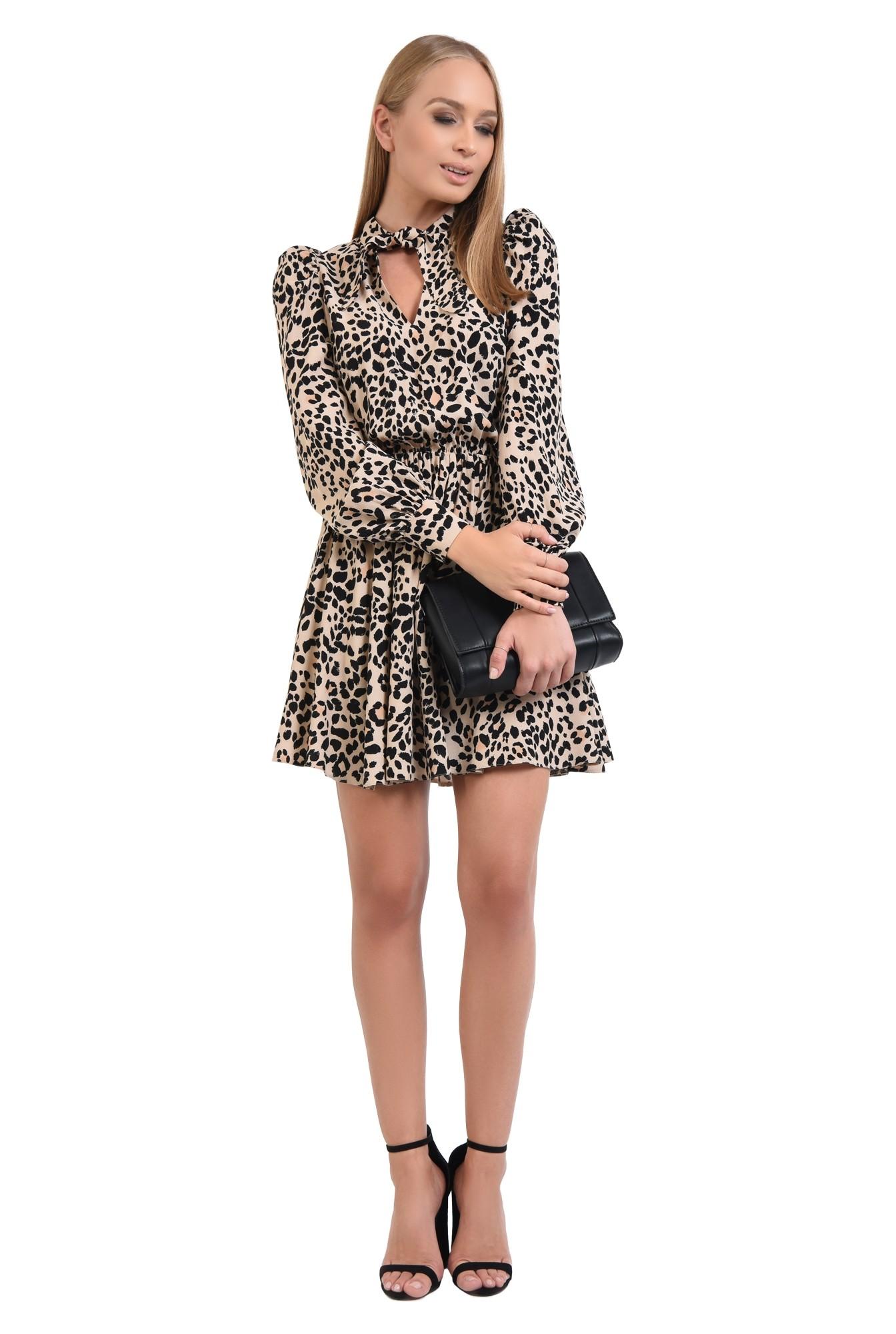 3 - 360 - rochie casual, scurta, clos, animal print, funda