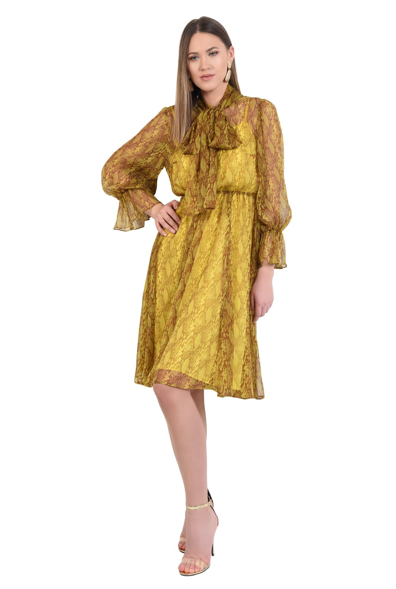 3 - 360 - rochie midi, clos, cu imprimeu, guler esarfa, funda