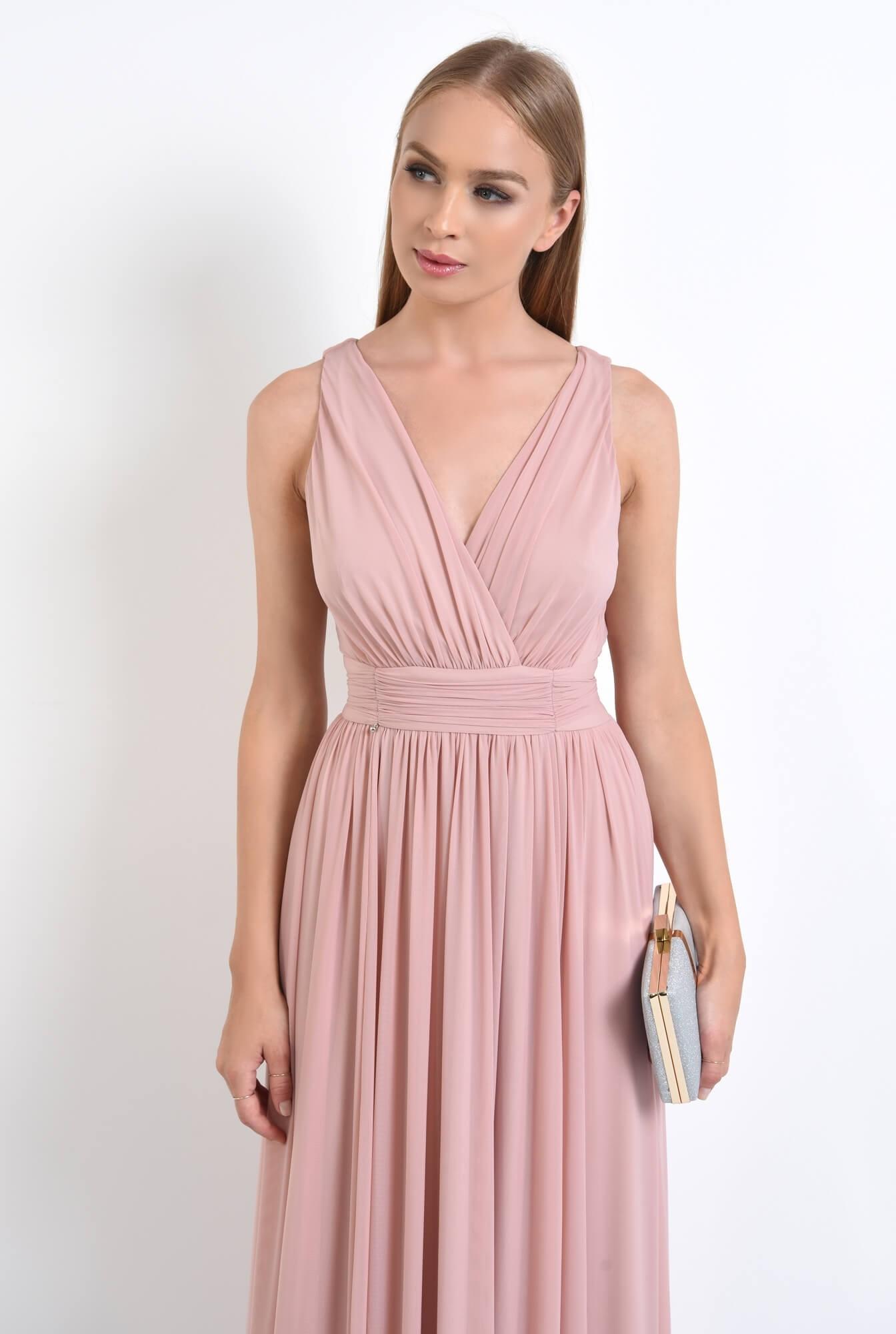 2 - rochie de seara, lunga, tul, roz, spate gol