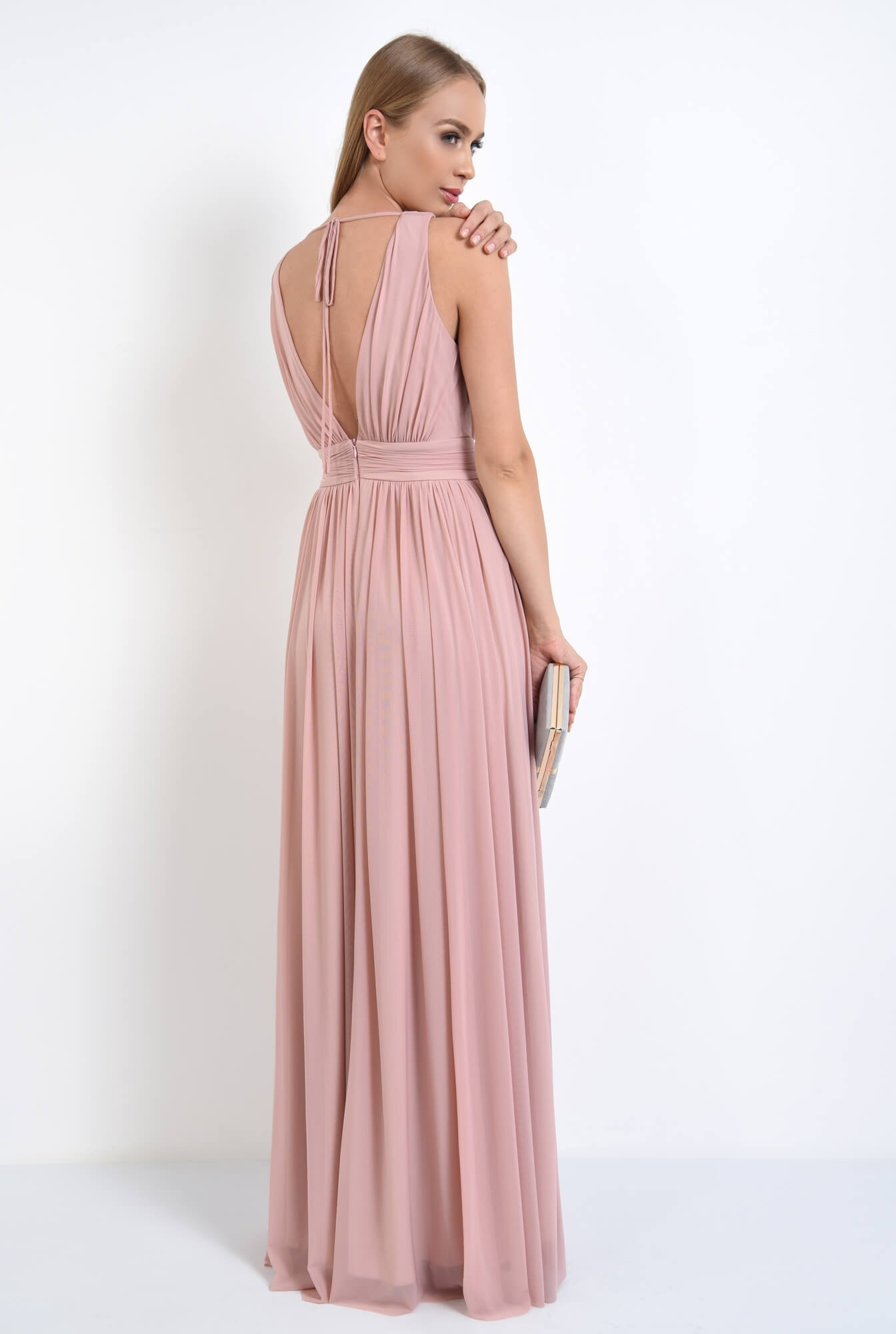 1 - rochie de seara, lunga, tul, roz, spate gol