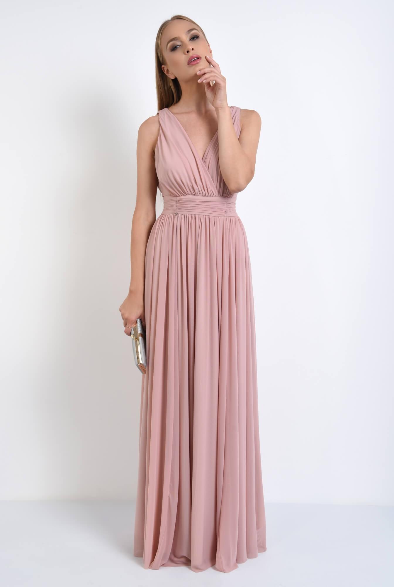3 - rochie de seara, lunga, tul, roz, spate gol
